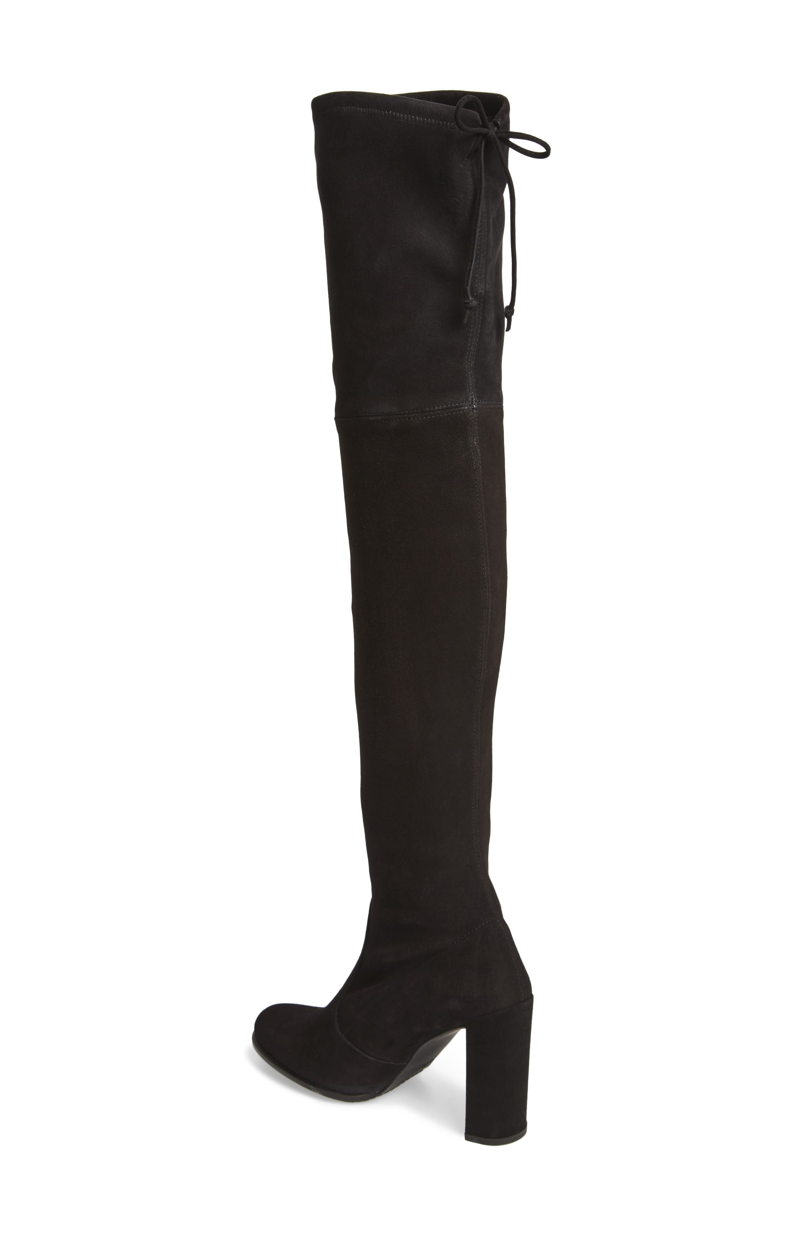 Hiline Over the Knee Boot,                             Alternate thumbnail 2, color,                             Black Suede