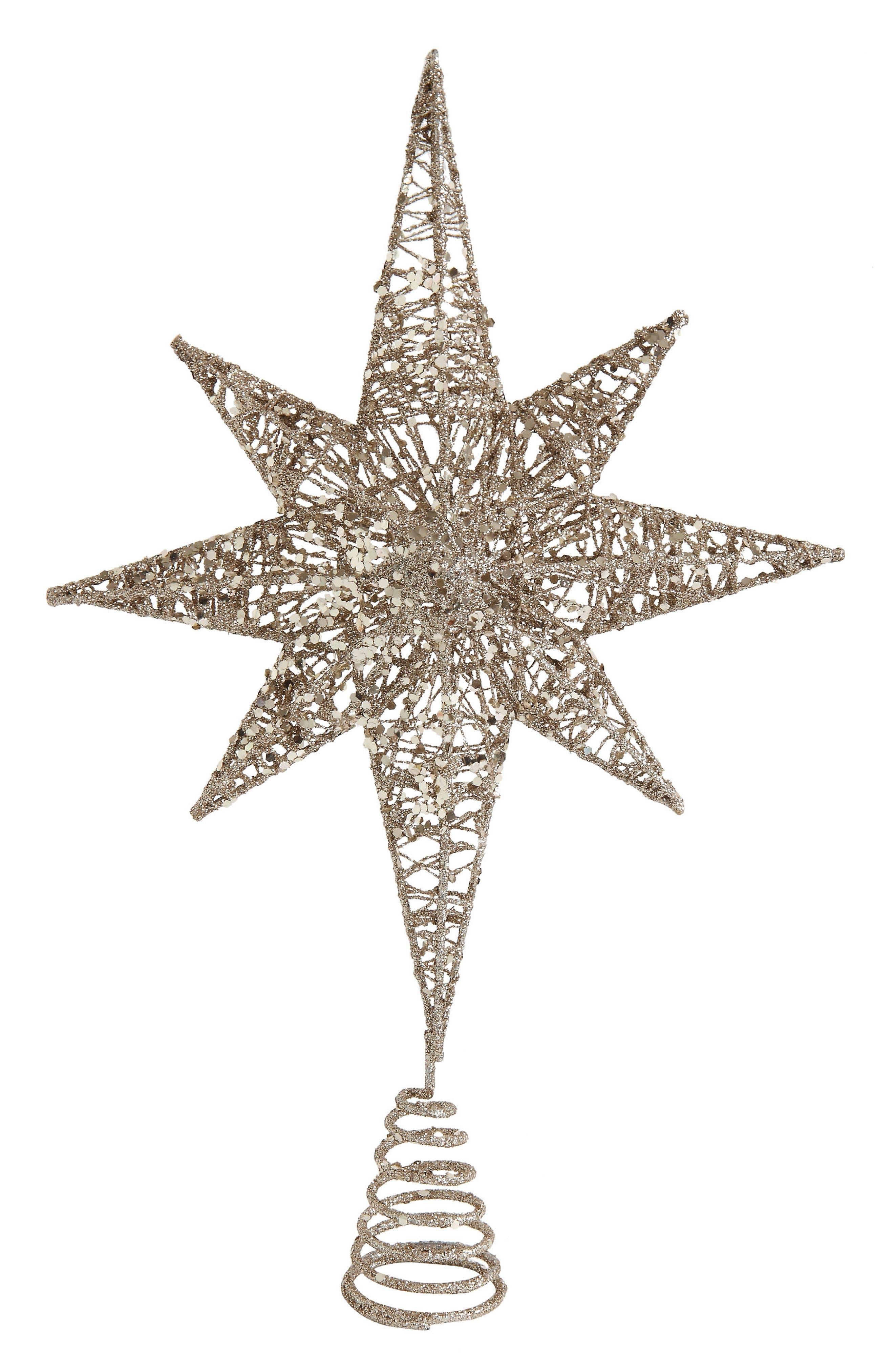 Glitter Star Tree Topper,                             Main thumbnail 1, color,                             Gold