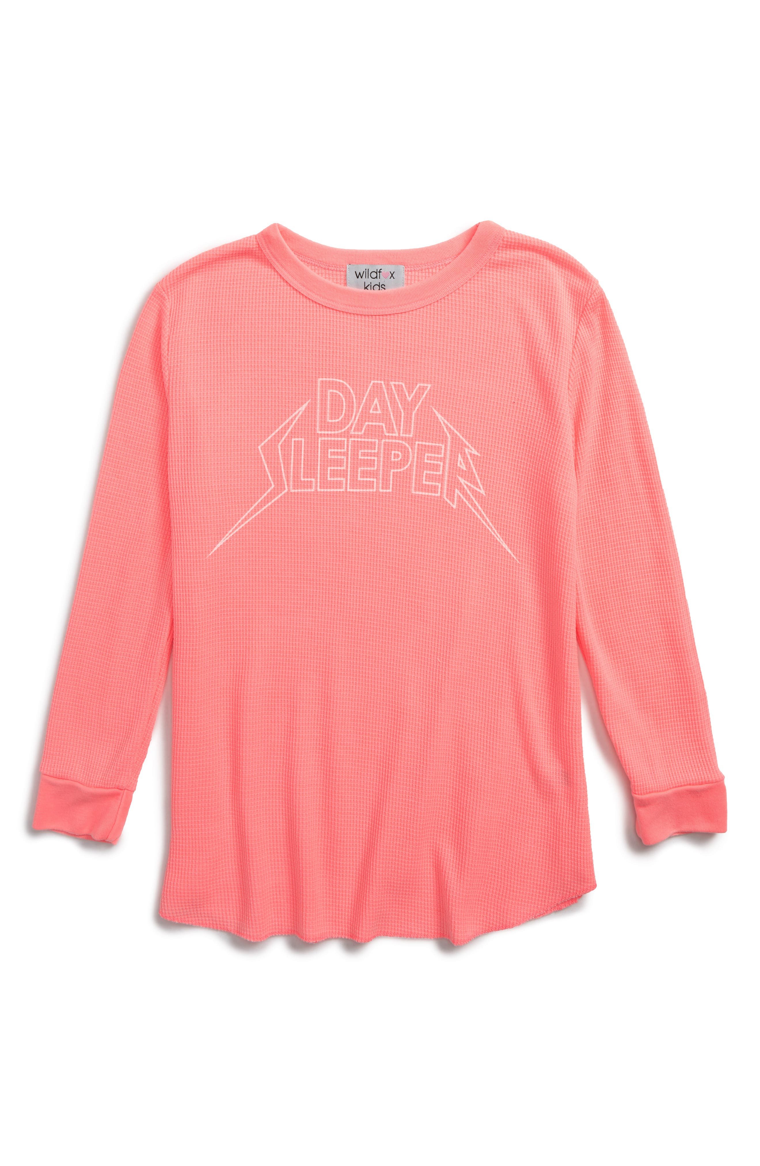 Day Sleeper Thermal Top,                         Main,                         color, Neon Sign Pink