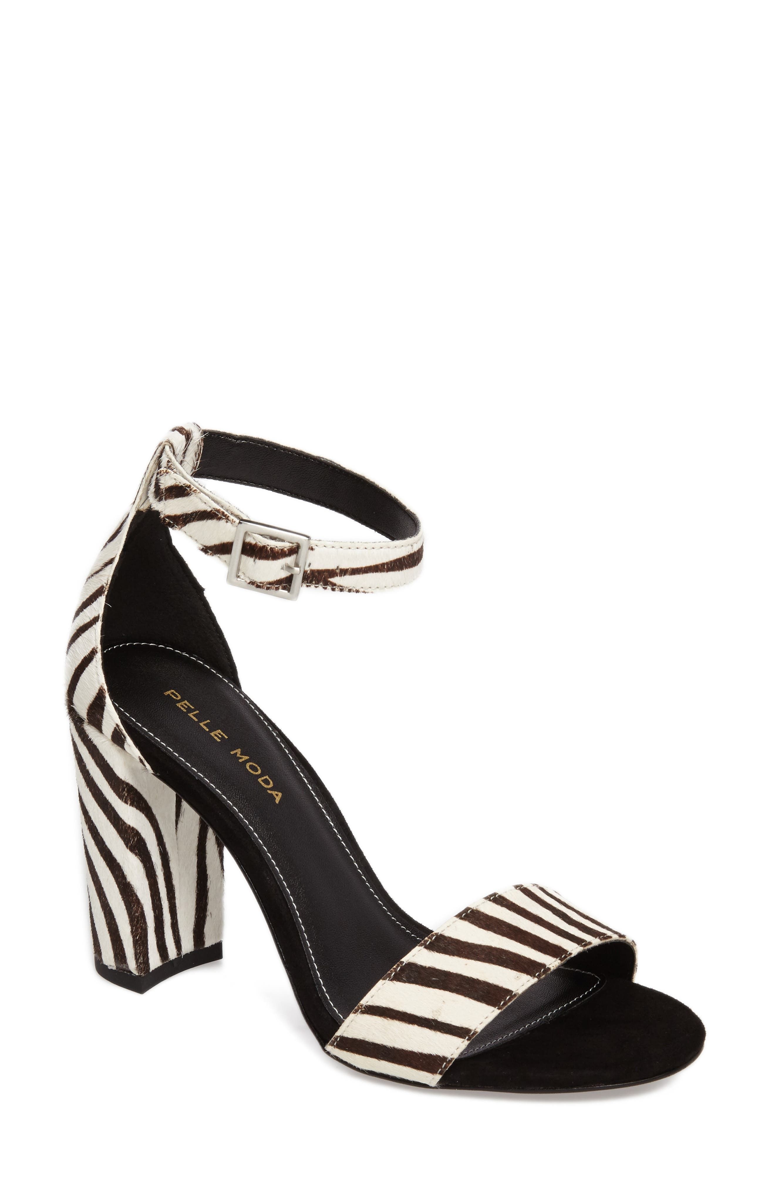 'Bonnie' Ankle Strap Sandal,                             Main thumbnail 1, color,                             Zebra Print Calf Hair