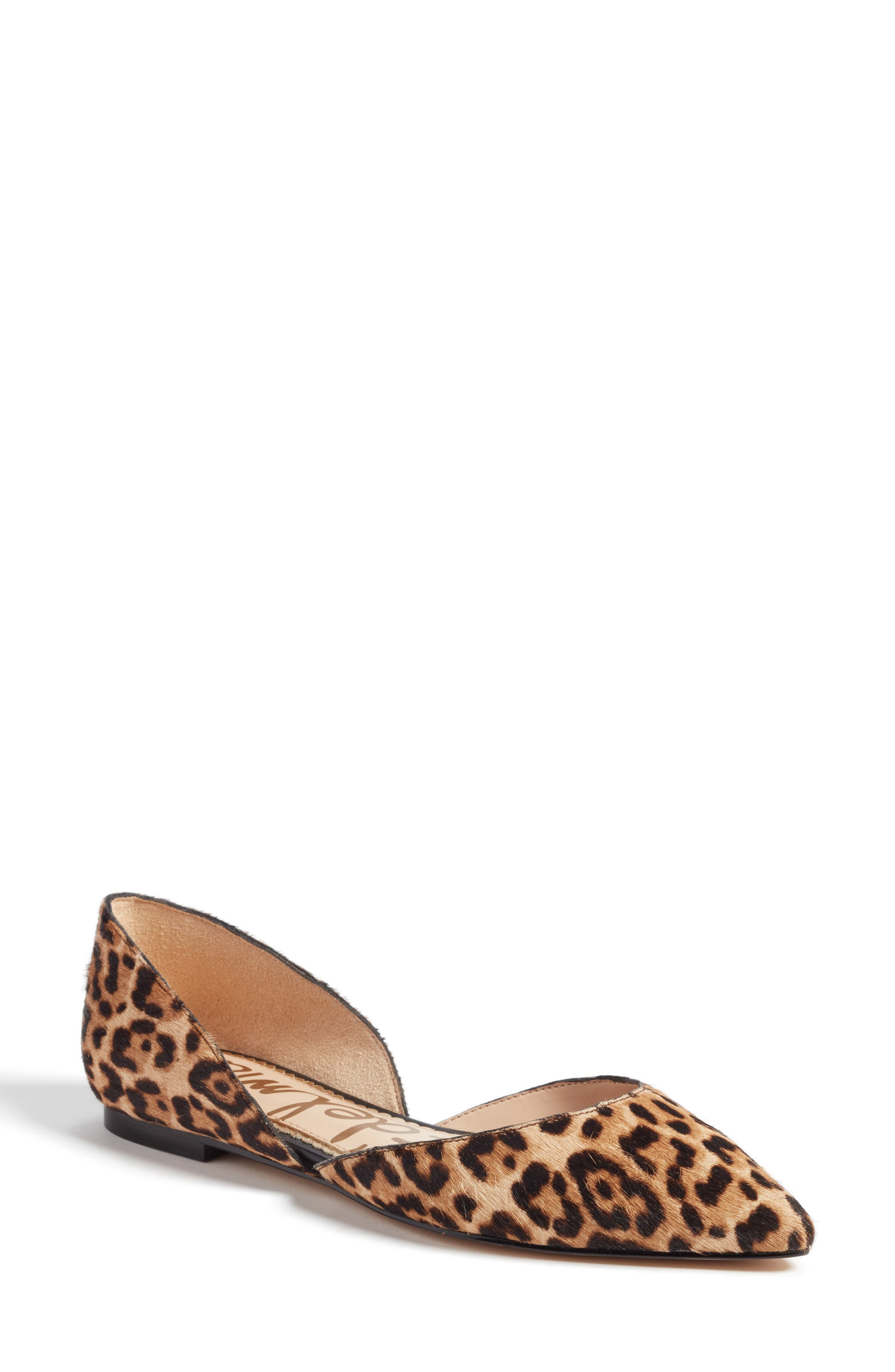 Rodney Pointy Toe Genuine Calf Hair Flat,                             Main thumbnail 1, color,                             Sand Leopard Calf Hair