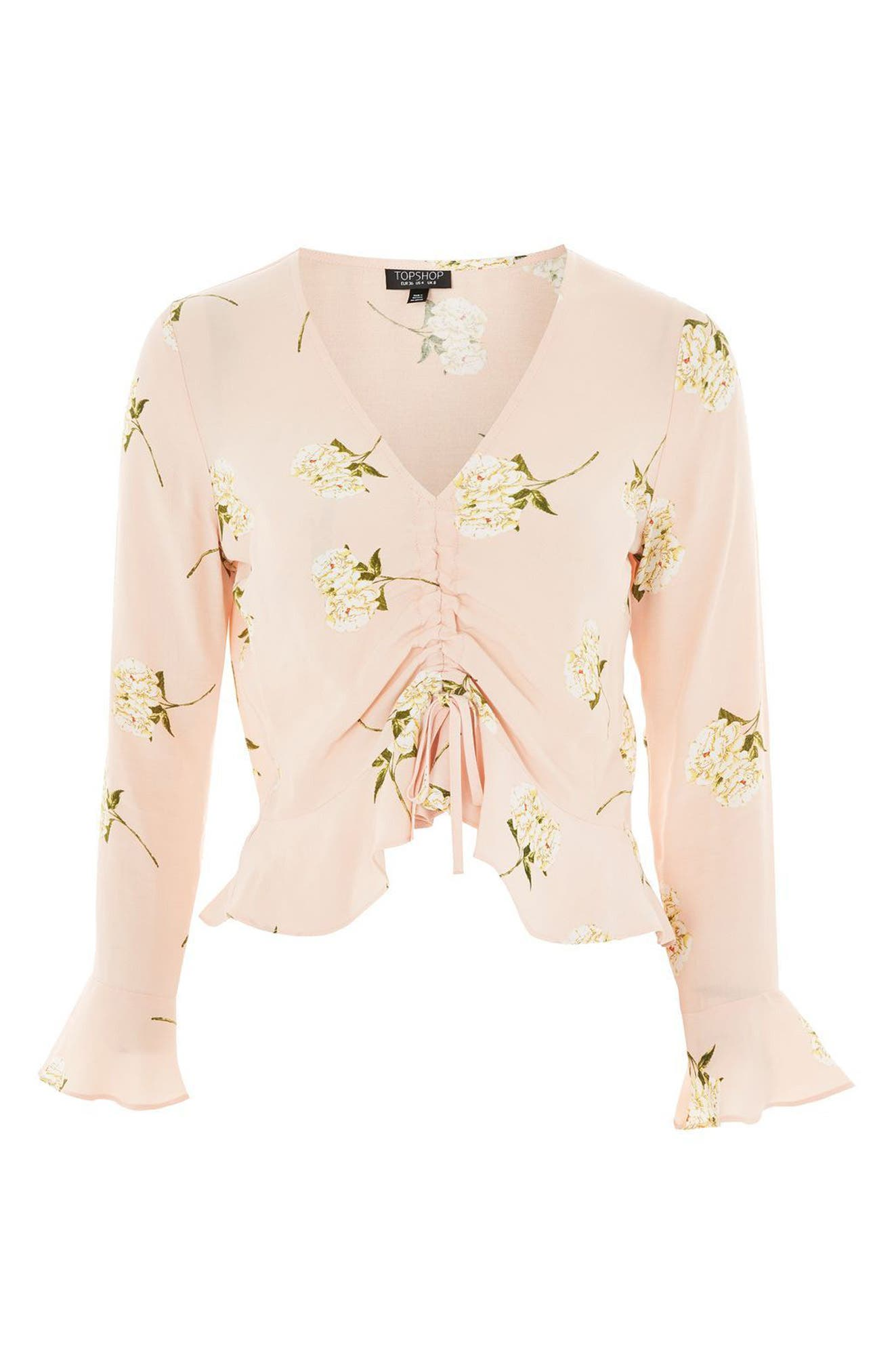 Ruby Carnation Ruched Blouse,                             Alternate thumbnail 4, color,                             Light Pink Multi