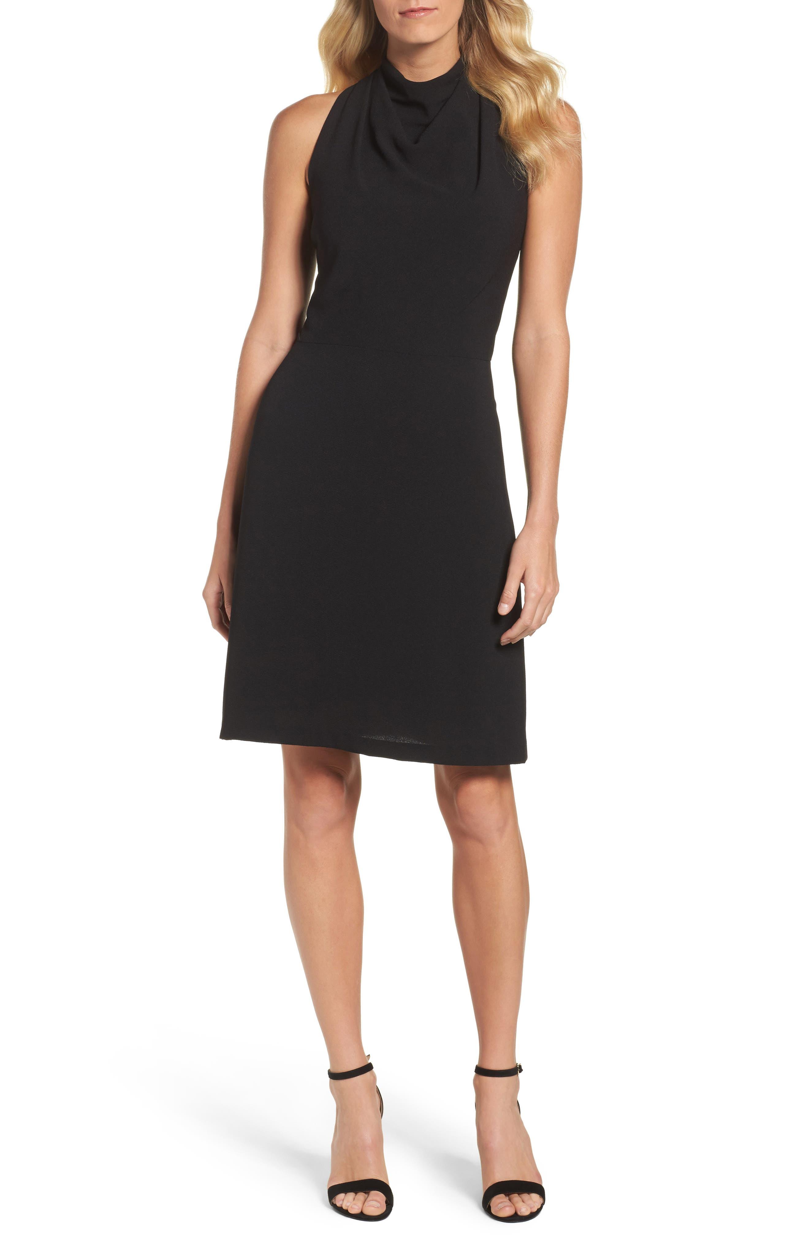 Lace Back A-Line Dress,                         Main,                         color, Black