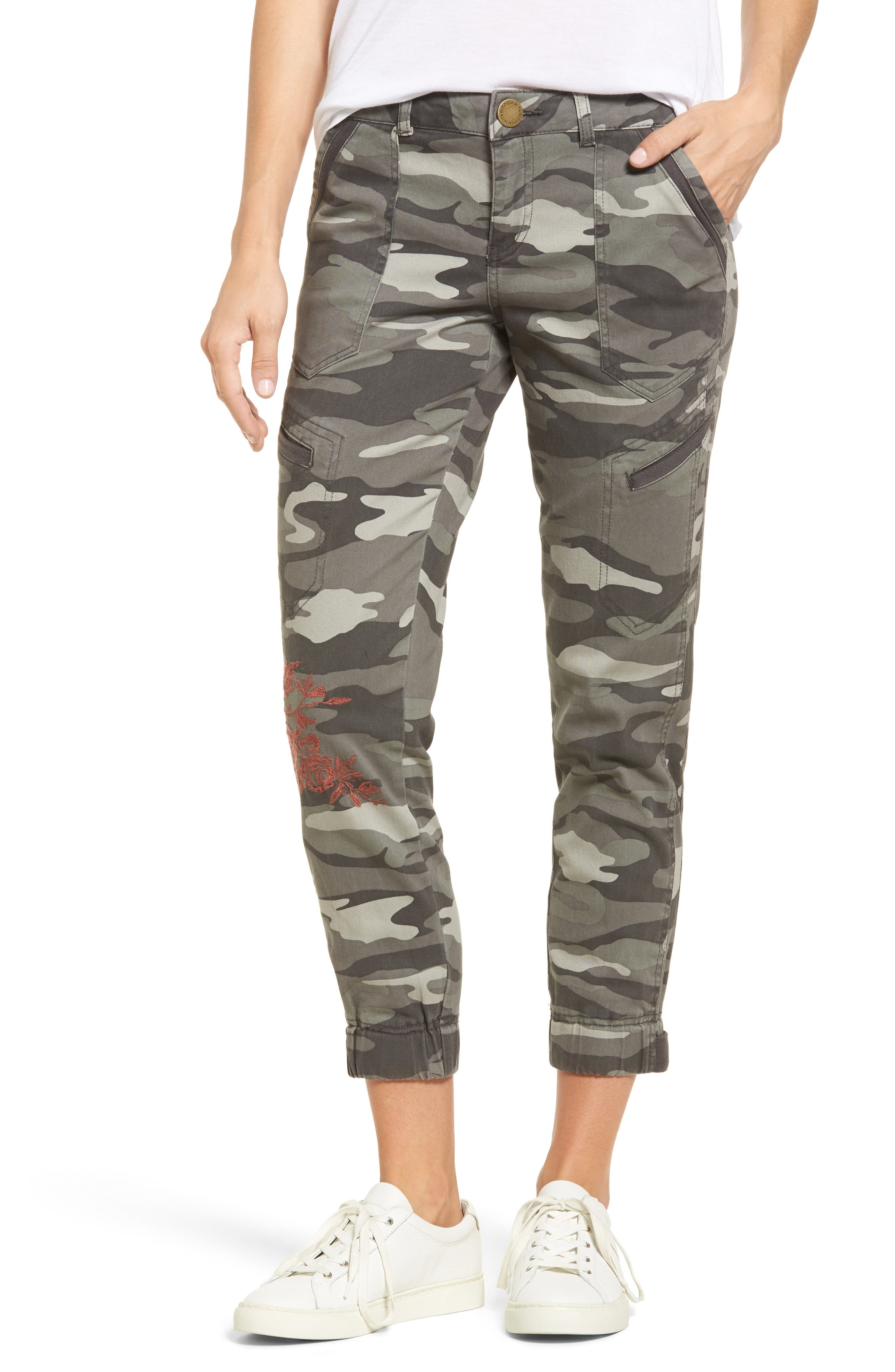 Embroidered Camo Utility Joggers,                         Main,                         color, Sage