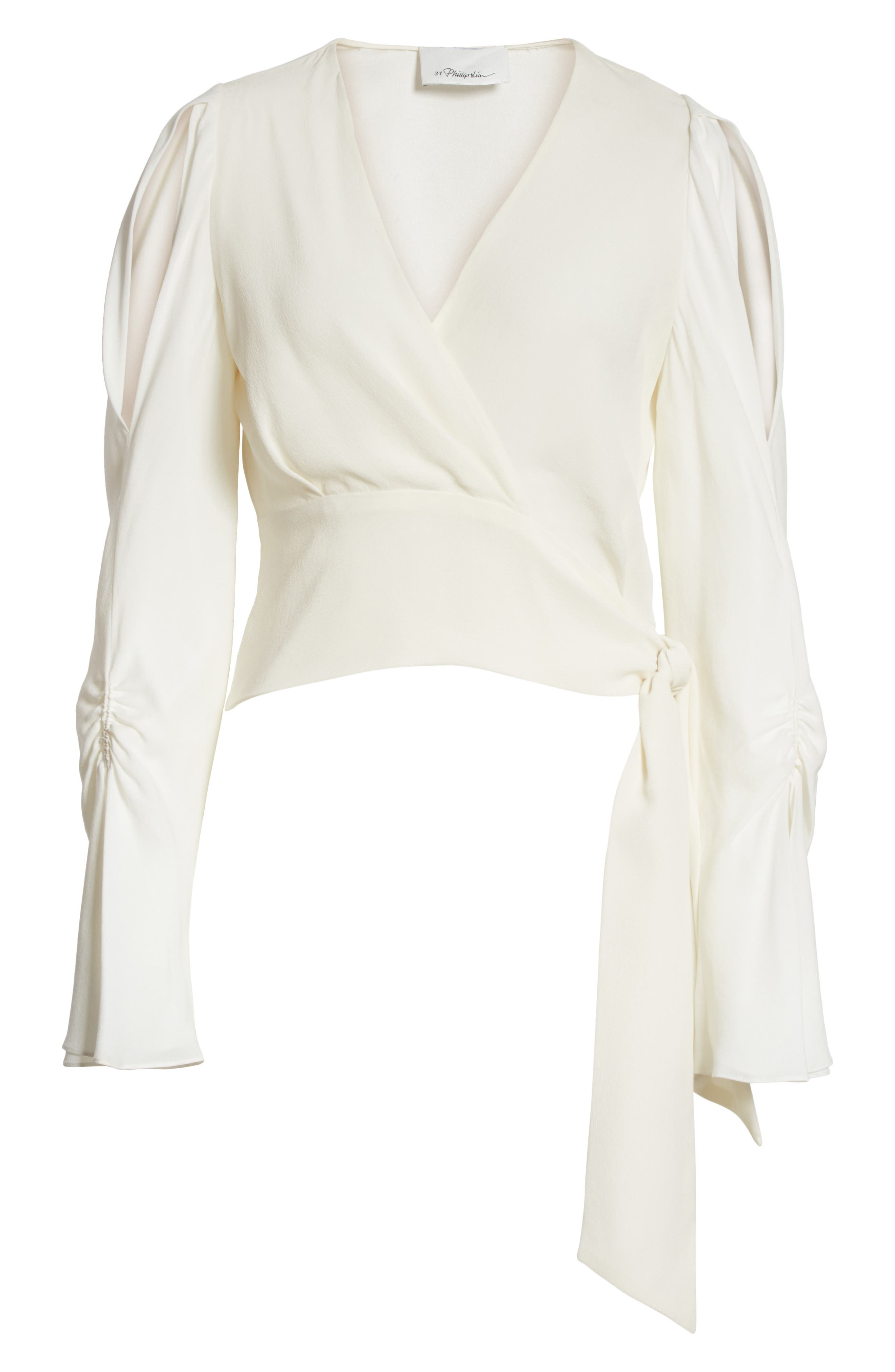 Slit Sleeve Silk Blouse,                             Alternate thumbnail 6, color,                             Antique White