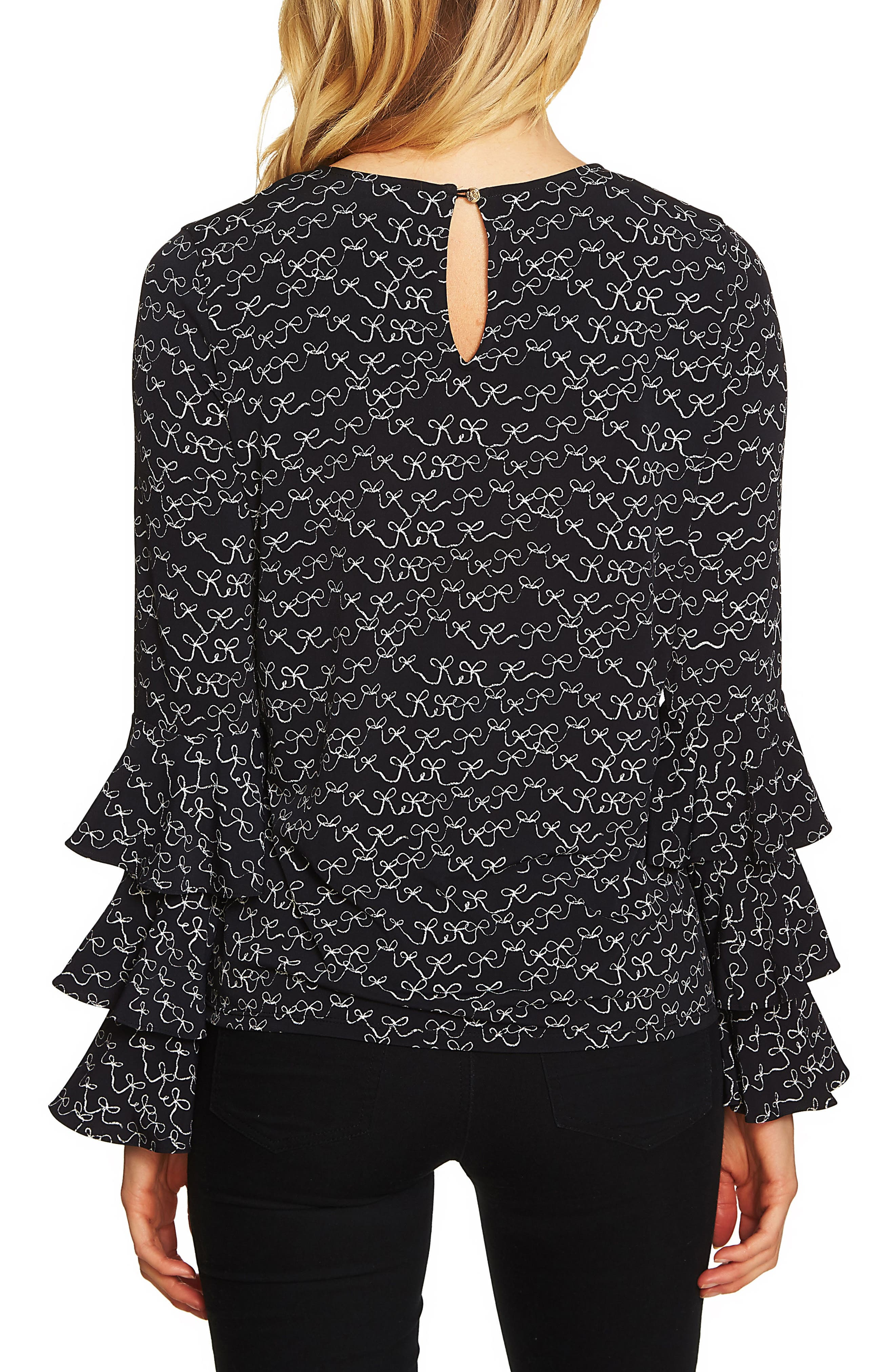 Danity Tiered Ruffle Bell Sleeve Top,                             Alternate thumbnail 2, color,                             Rich Black