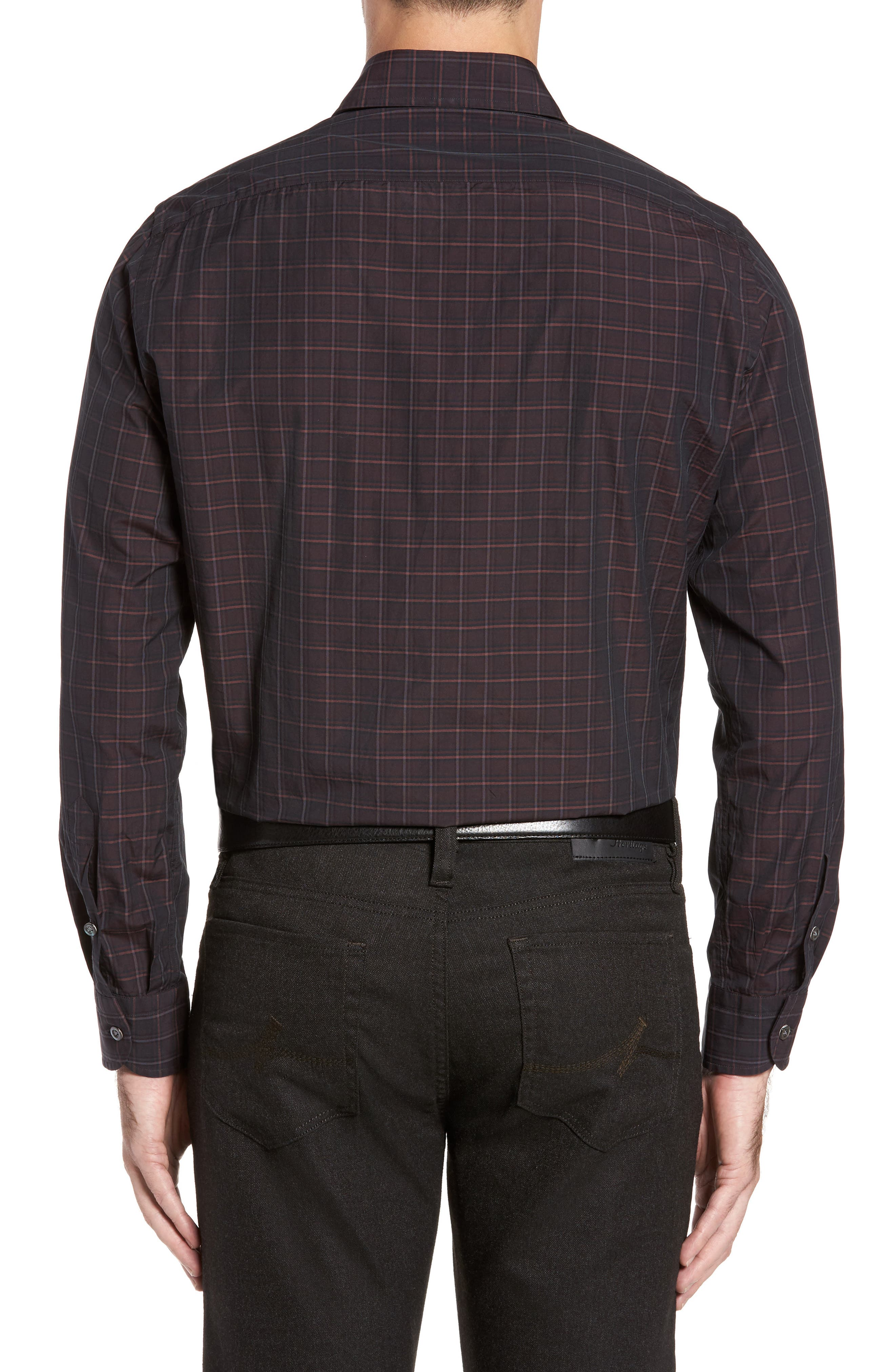 Alternate Image 2  - Luciano Barbera Trim Fit Windowpane Print Sport Shirt