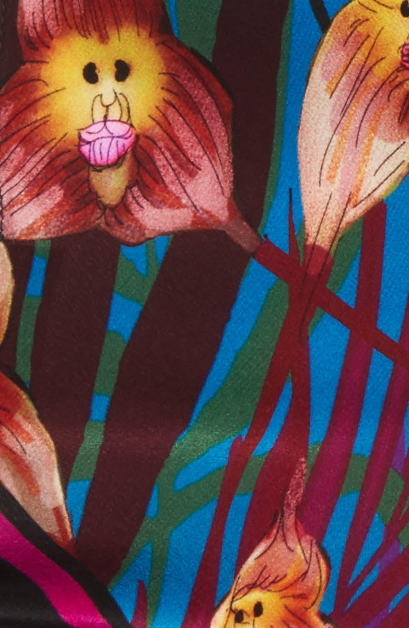 Monkey Orchid Skinny Silk Scarf,                             Alternate thumbnail 4, color,                             Fuchsia