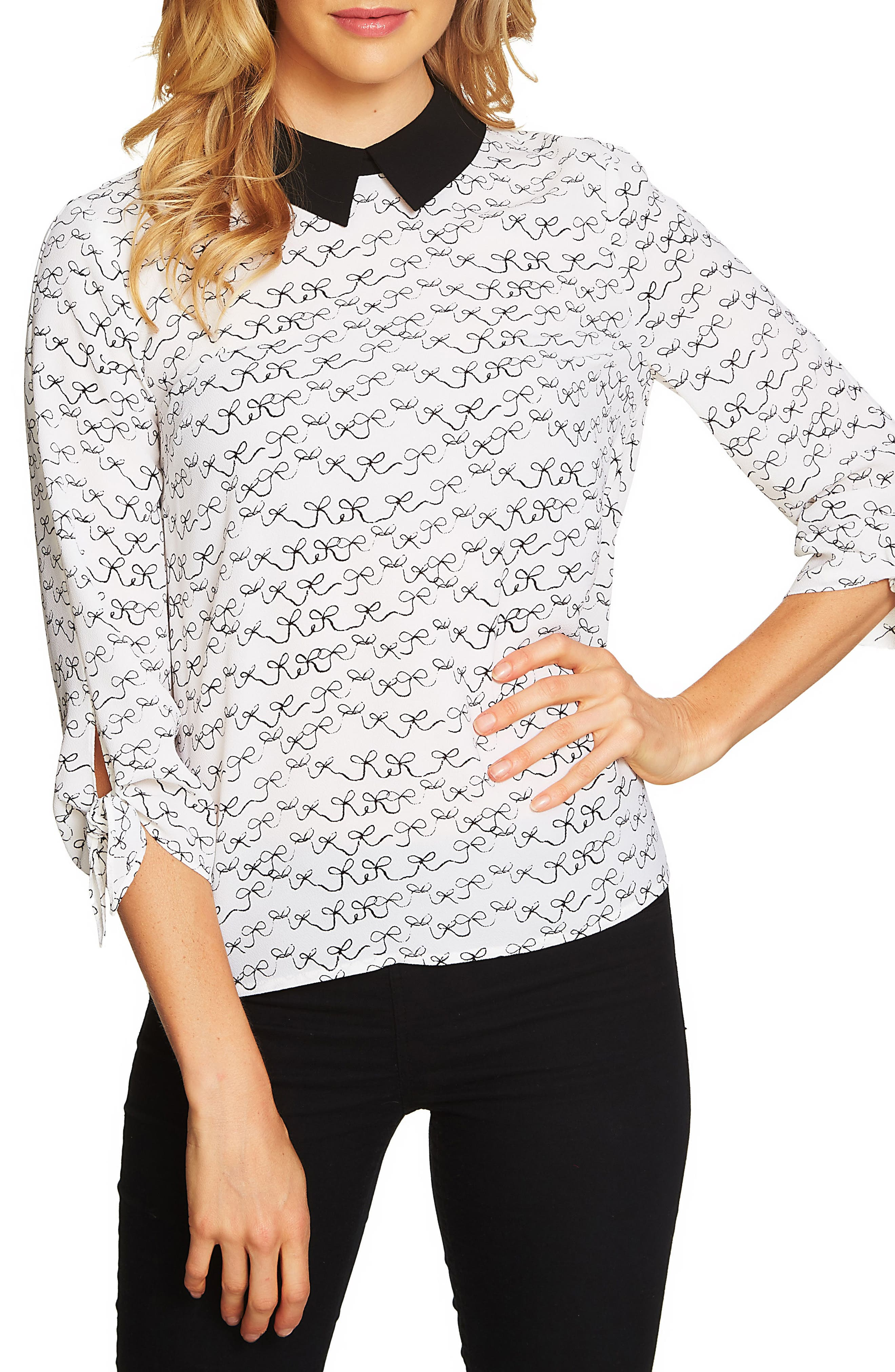 CeCe Bow Tie Sleeve Collared Blouse