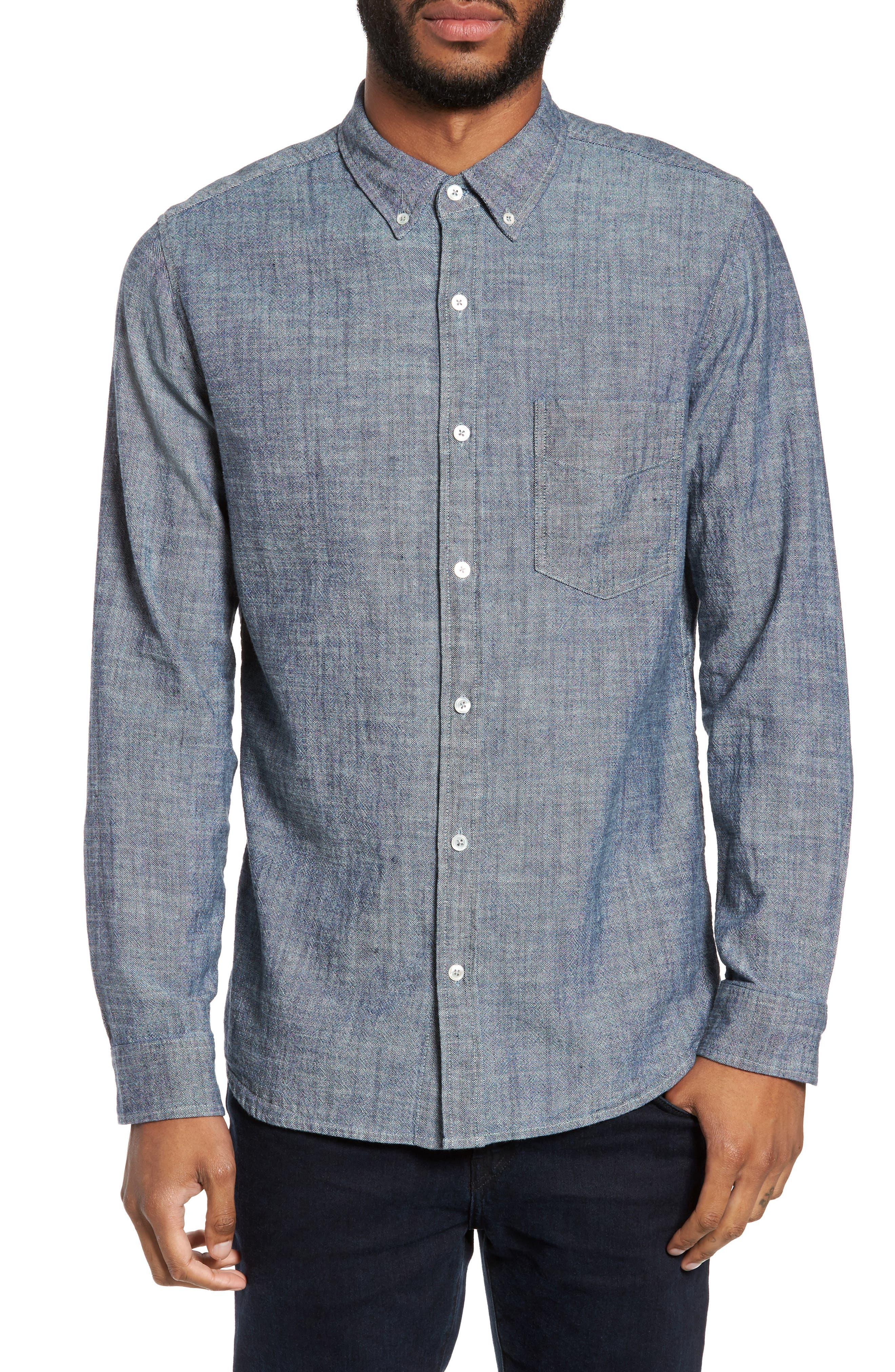 Regular Fit Chambray Sport Shirt,                         Main,                         color, Chambray