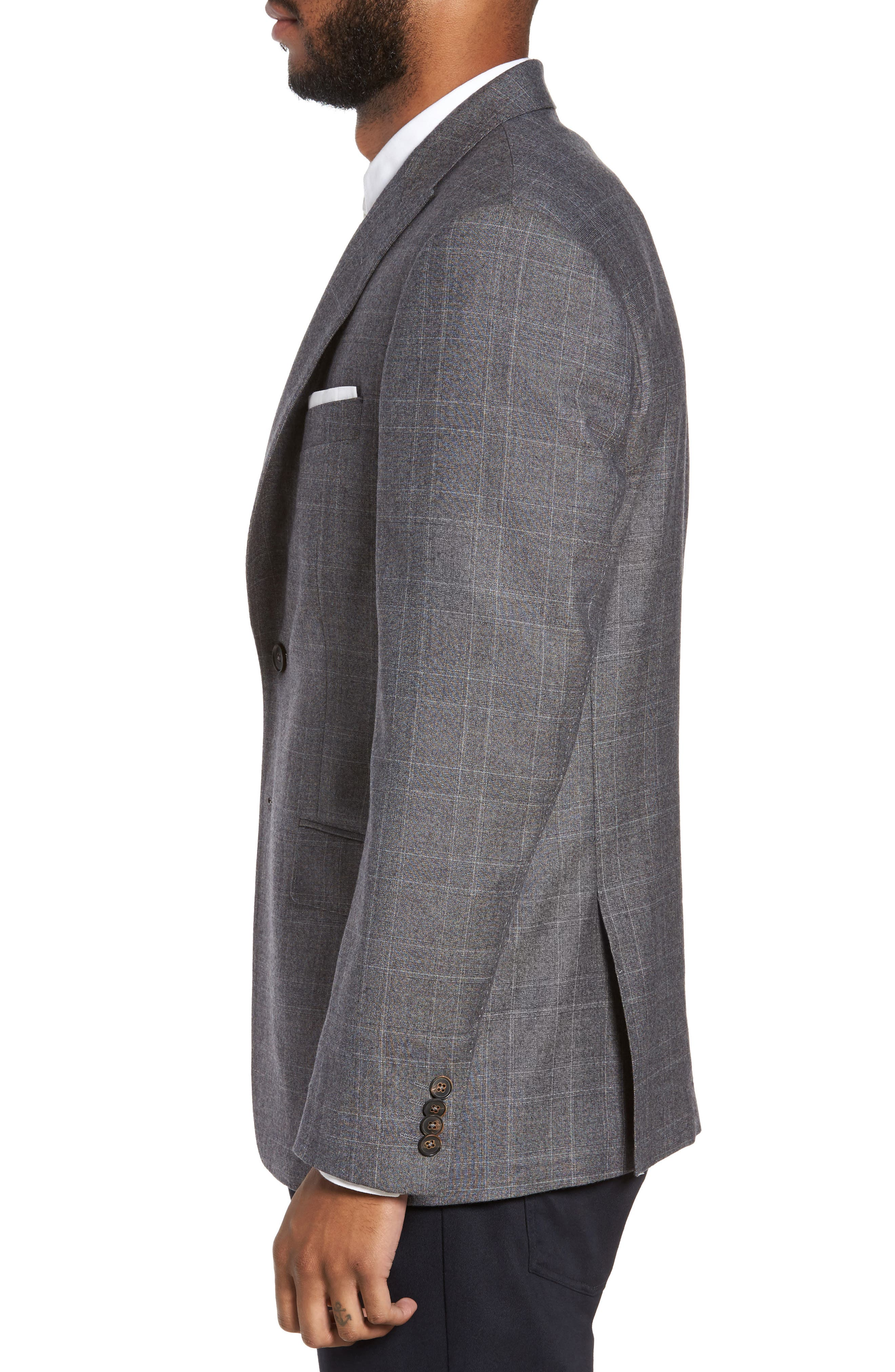 Gryning Trim Fit Plaid Wool Blend Sport Coat,                             Alternate thumbnail 3, color,                             Quiet Gray
