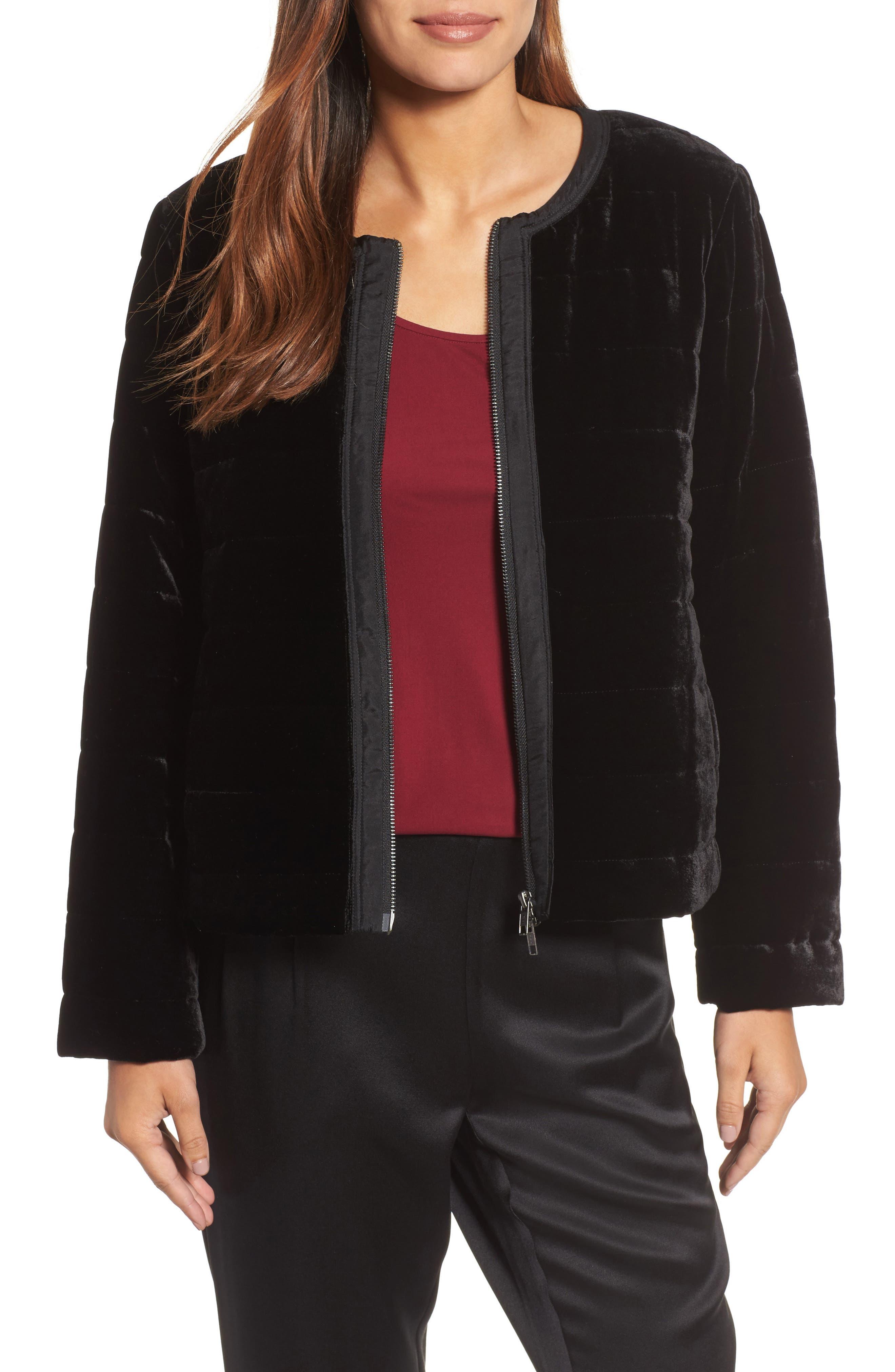 Main Image - Eileen Fisher Quilted Velvet Jacket (Regular & Petite)