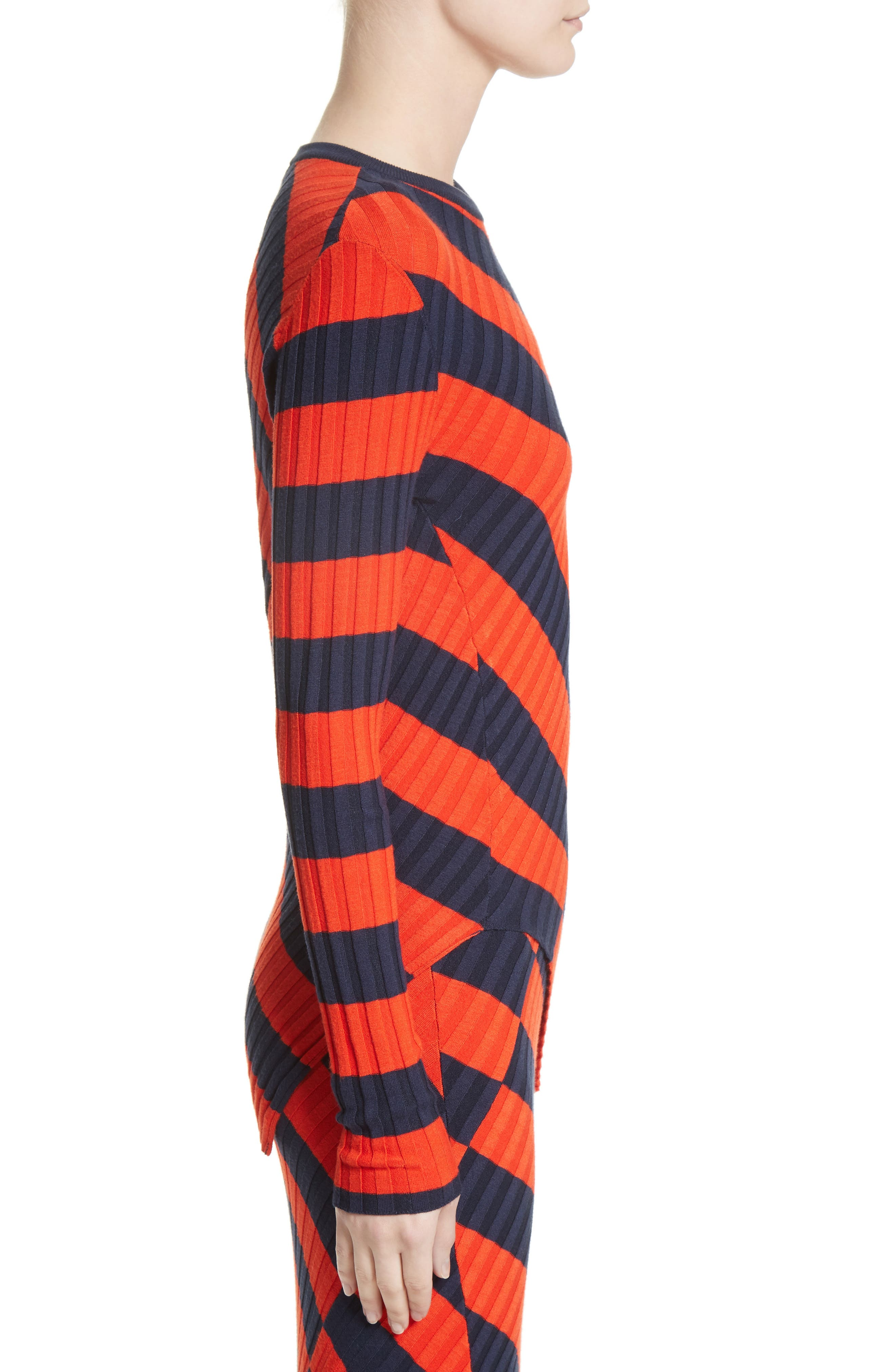 Asymmetrical Stripe Sweater,                             Alternate thumbnail 3, color,                             Persimmon