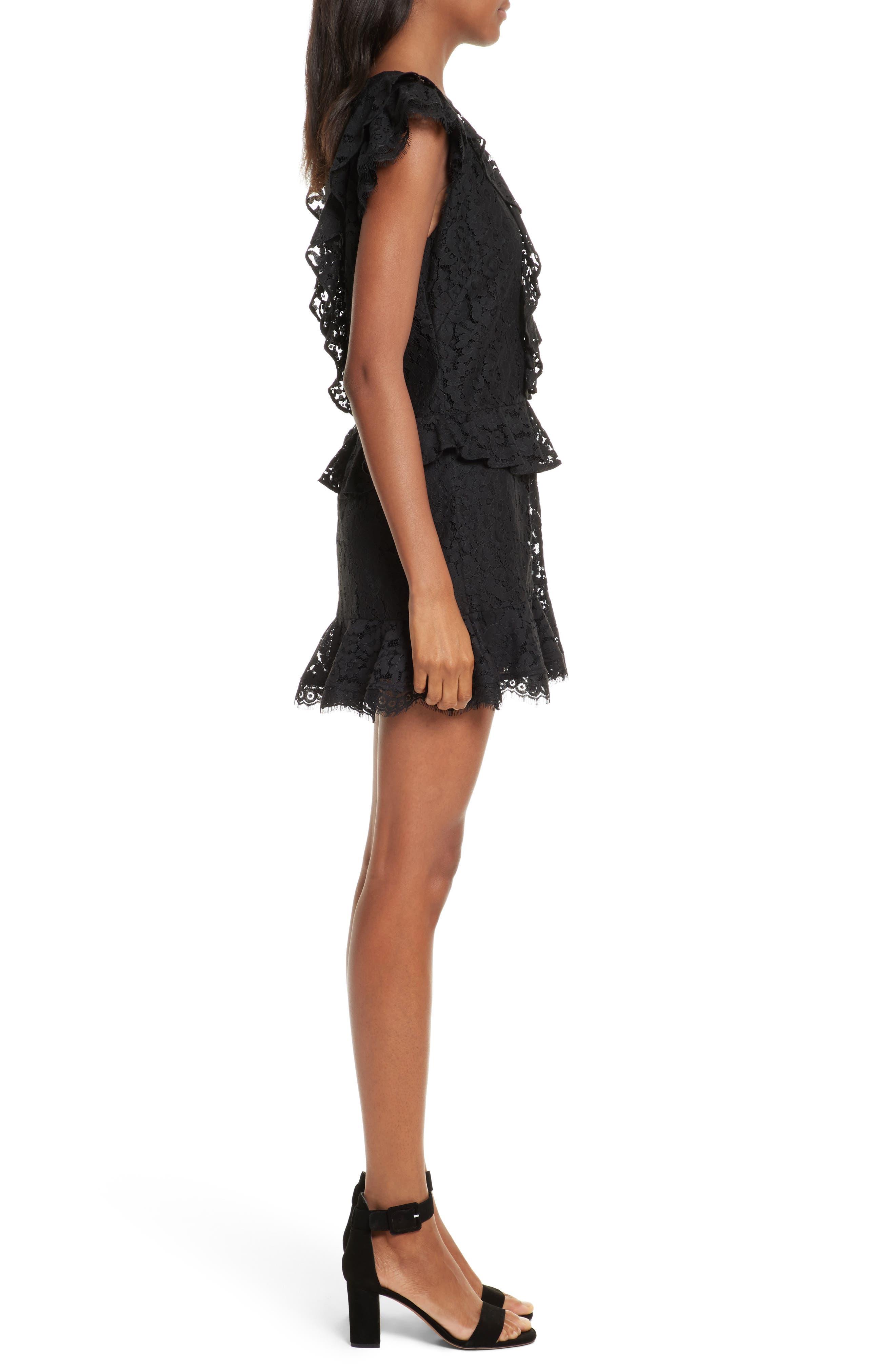 Acostas Ruffle & Lace Dress,                             Alternate thumbnail 3, color,                             Caviar