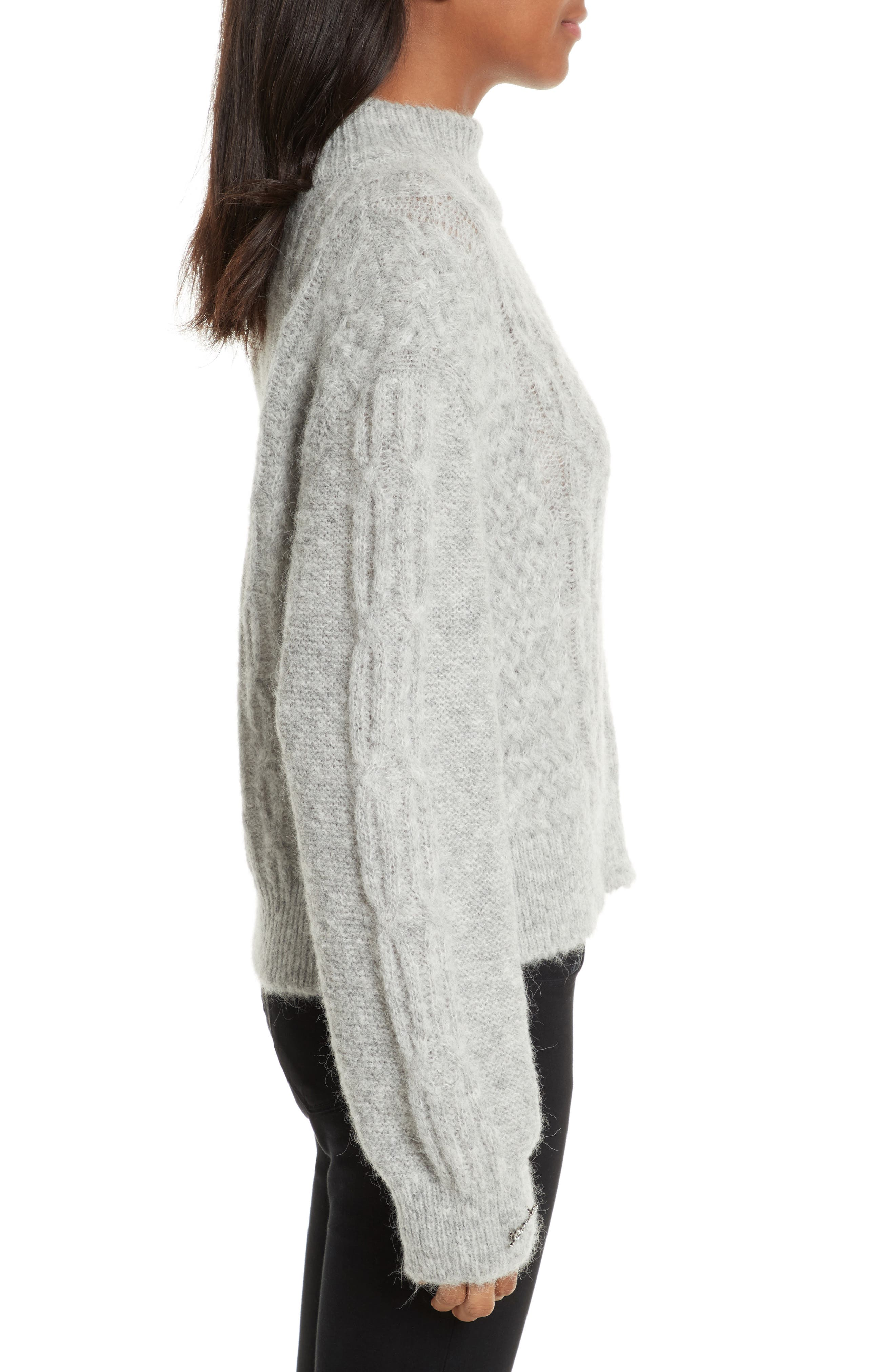 Garlan Mock Neck Sweater,                             Alternate thumbnail 3, color,                             Light Heather Grey