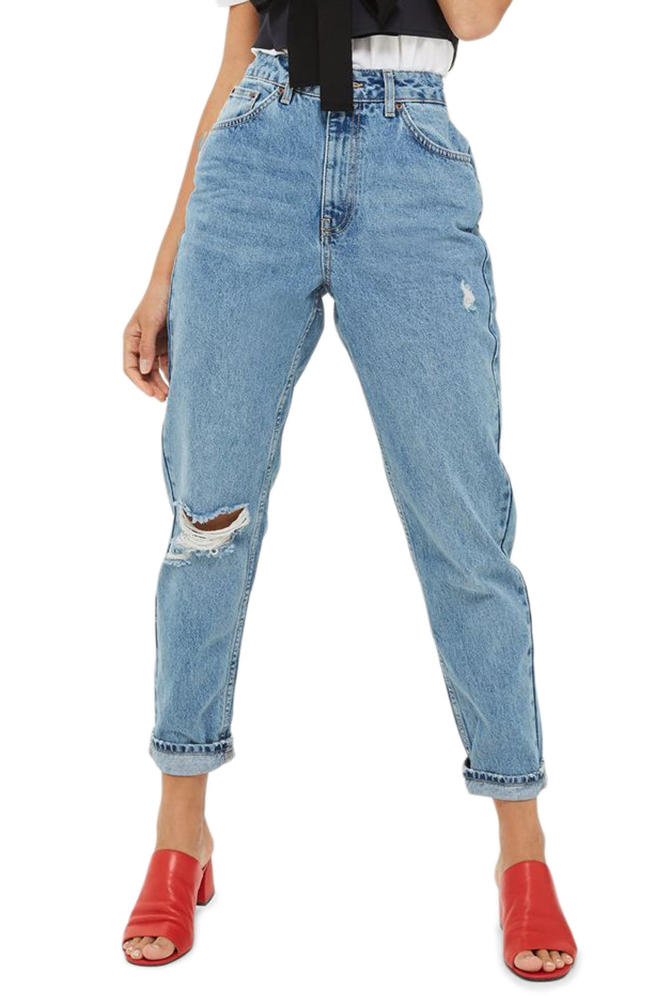 Ripped Mom Jeans,                         Main,                         color, Mid Denim