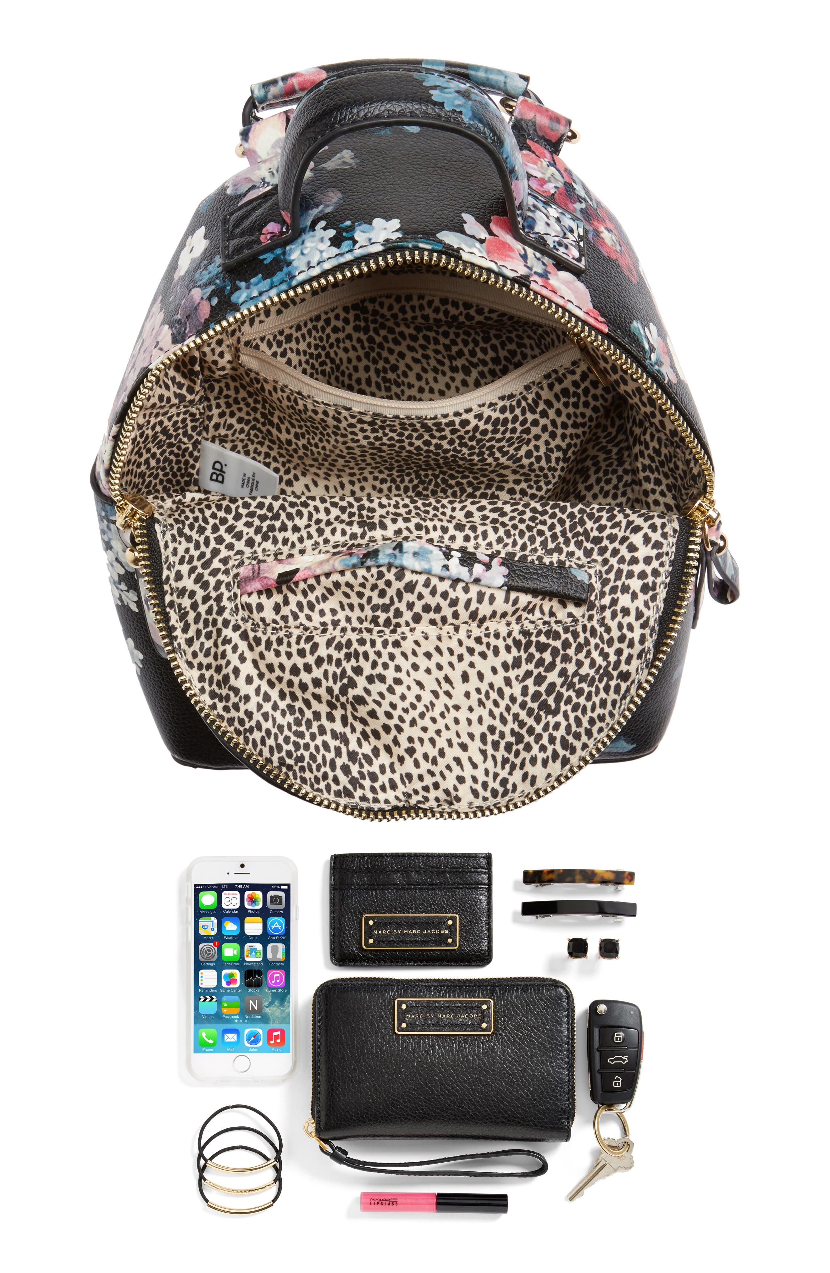 Mini Floral Faux Leather Mini Backpack,                             Alternate thumbnail 6, color,                             Black Floral
