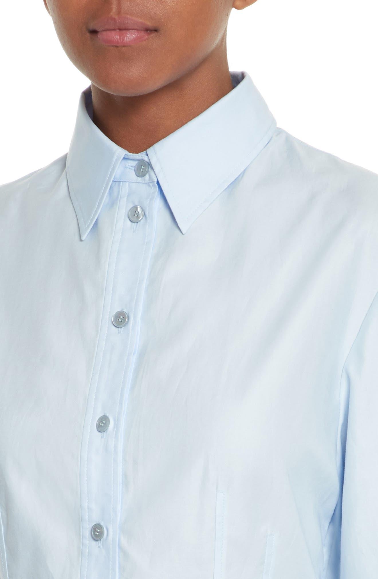 Carina Cotton Poplin Shirtdress,                             Alternate thumbnail 4, color,                             Oxford Blue