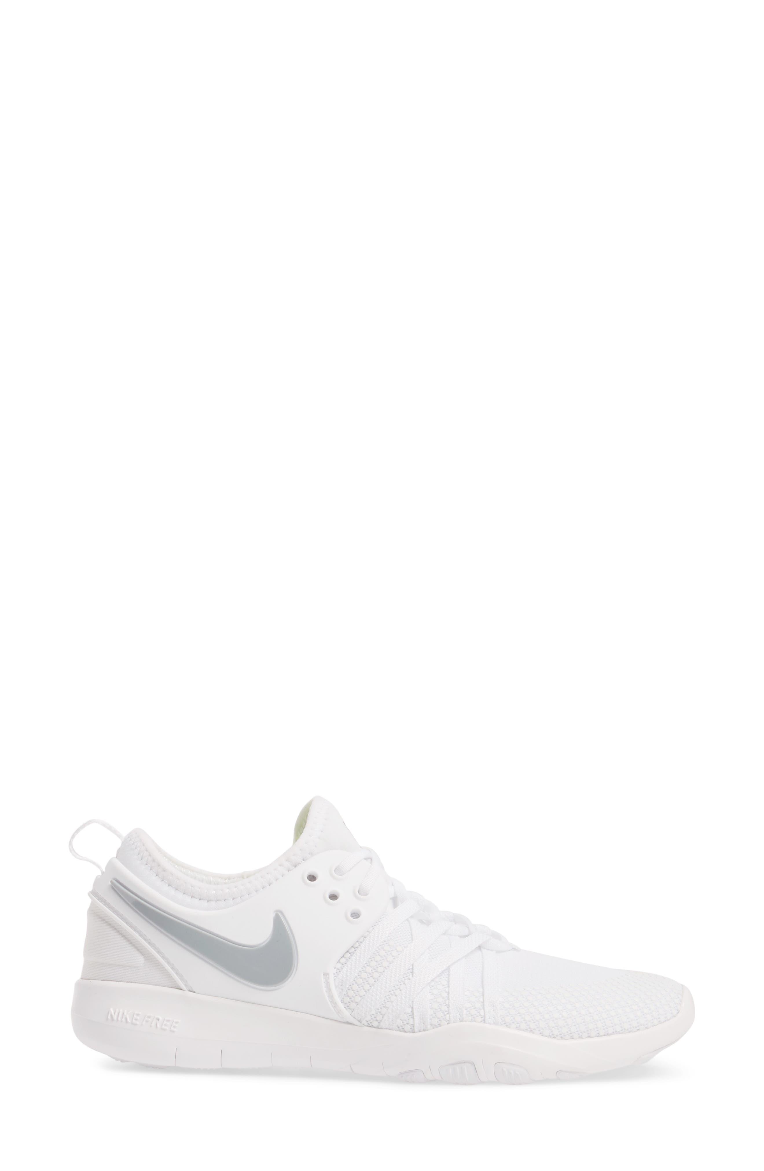 Free TR 7 Training Shoe,                             Alternate thumbnail 3, color,                             White/ Metallic Silver