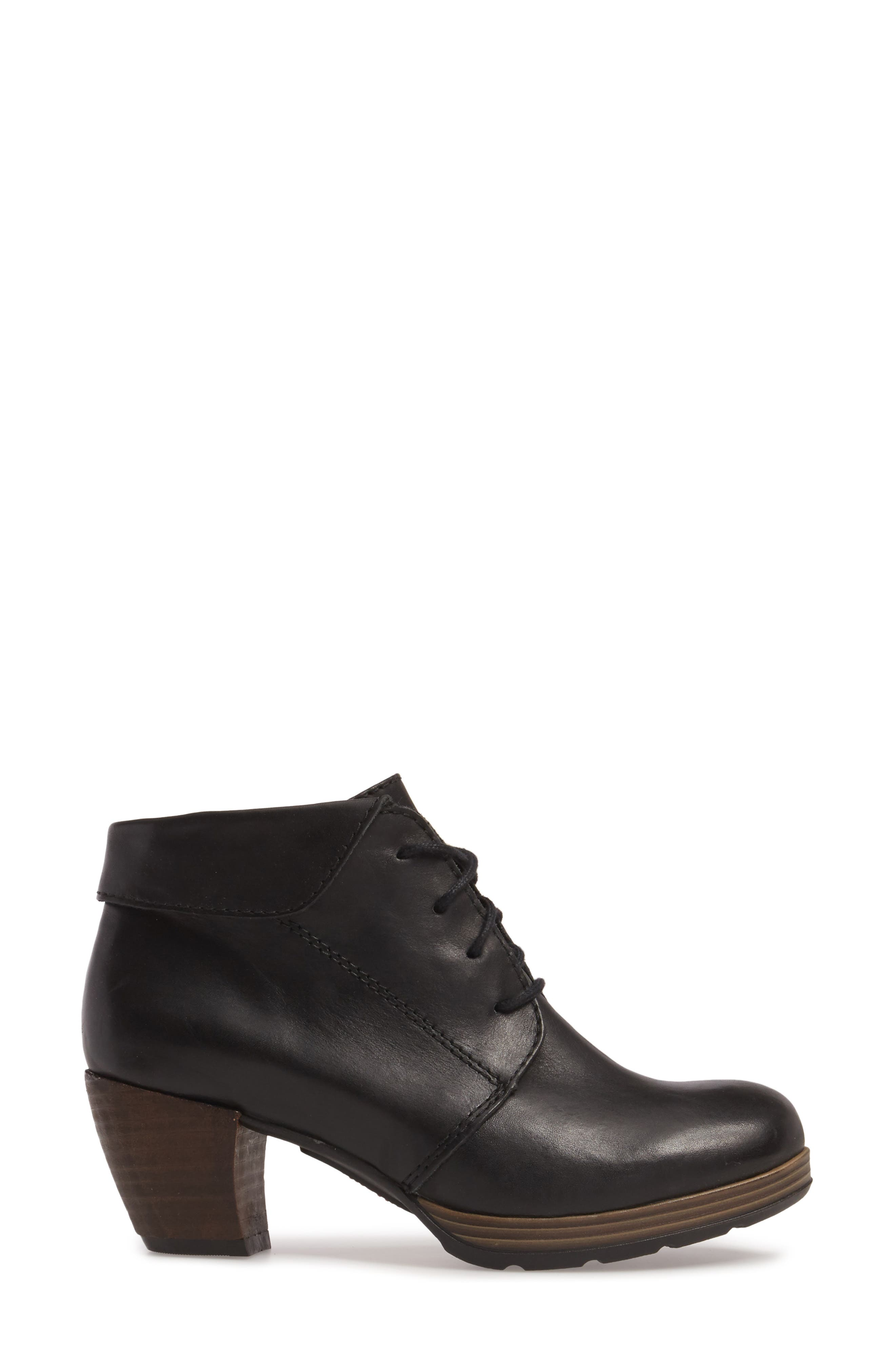 Jacquerie Lace-Up Bootie,                             Alternate thumbnail 3, color,                             Black Leather