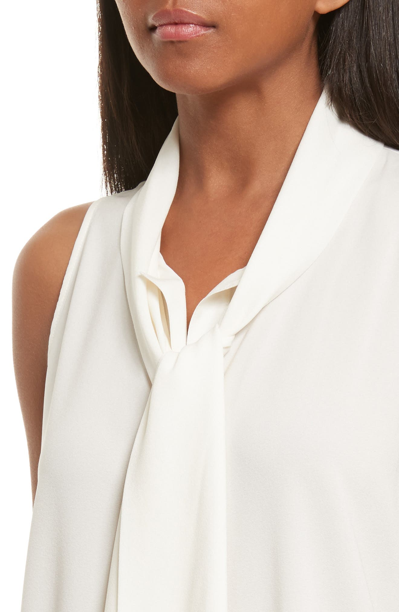 Scarf Neck Stretch Silk Blouse,                             Alternate thumbnail 4, color,                             Ivory