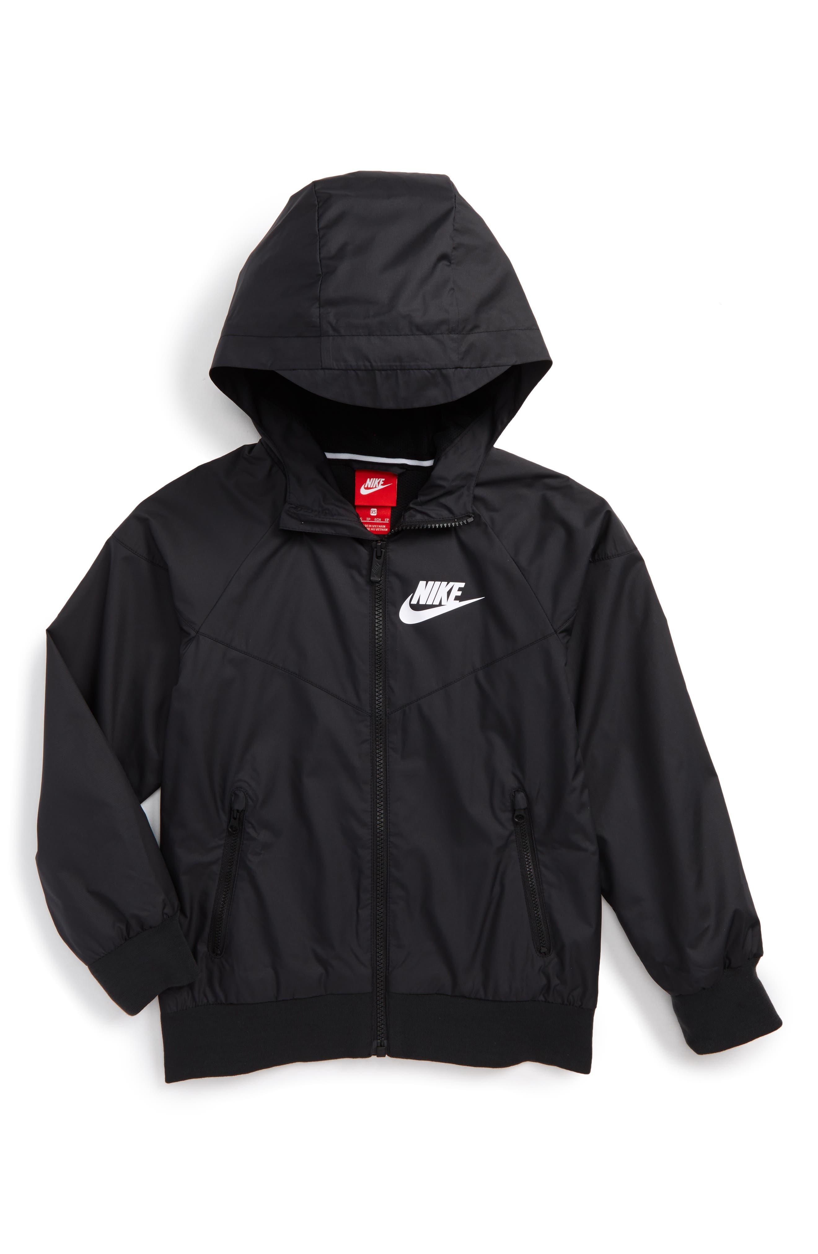 Windrunner Water Resistant Hooded Jacket,                         Main,                         color, Black/ White