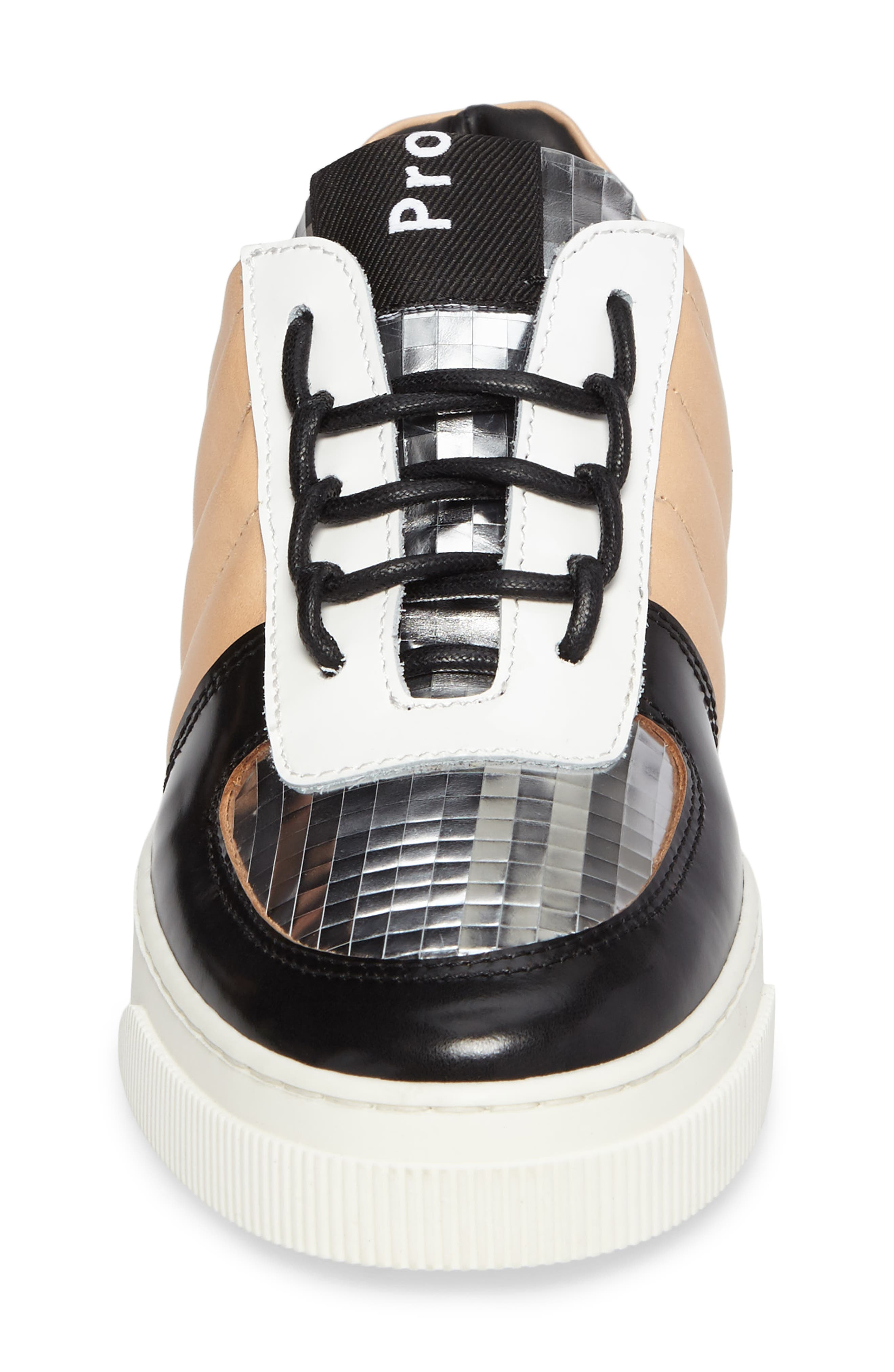 Sneaker,                             Alternate thumbnail 4, color,                             Beige/ Silver