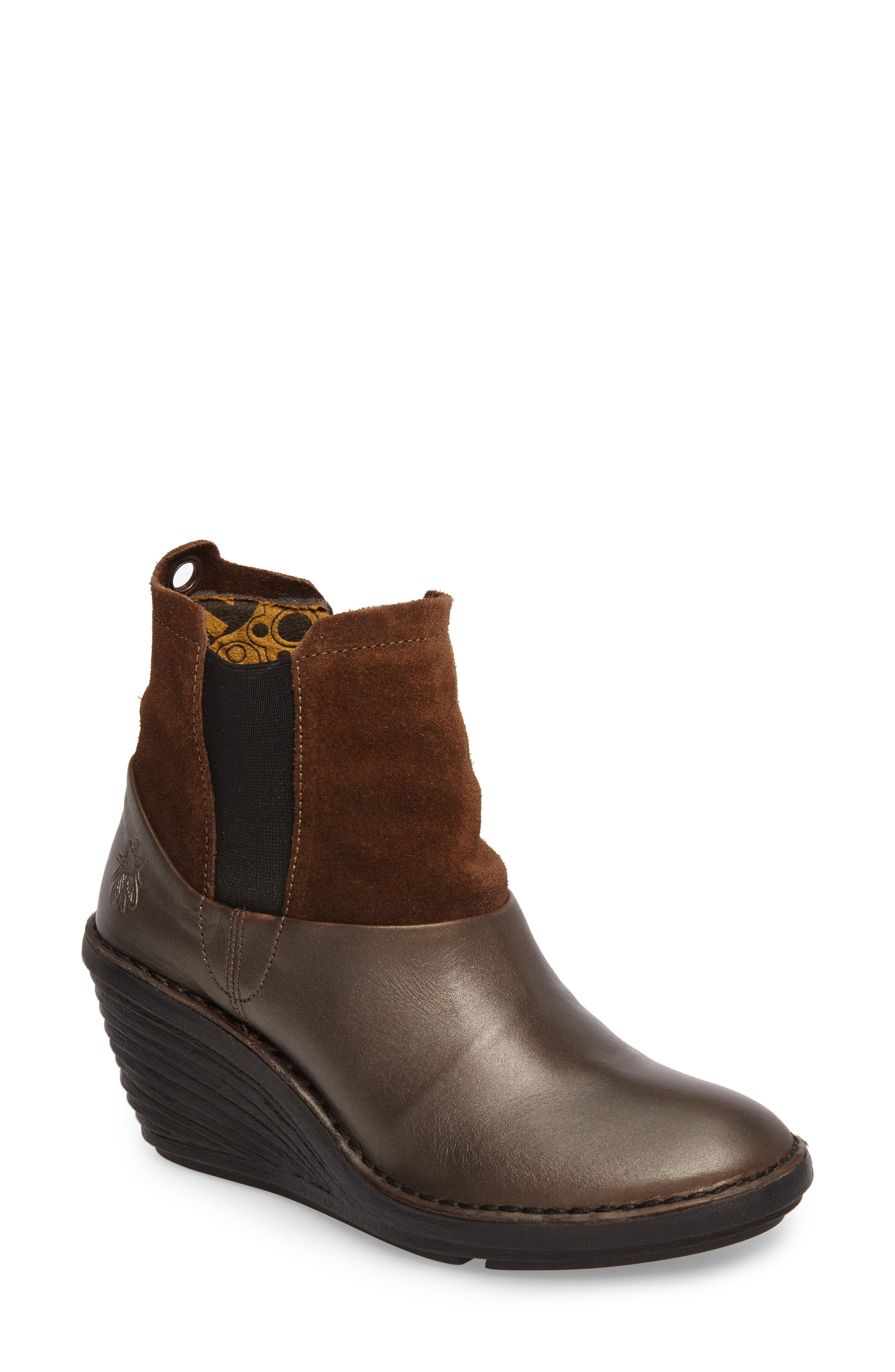 Sula Wedge Bootie,                             Main thumbnail 1, color,                             Olive/ Camel Suede