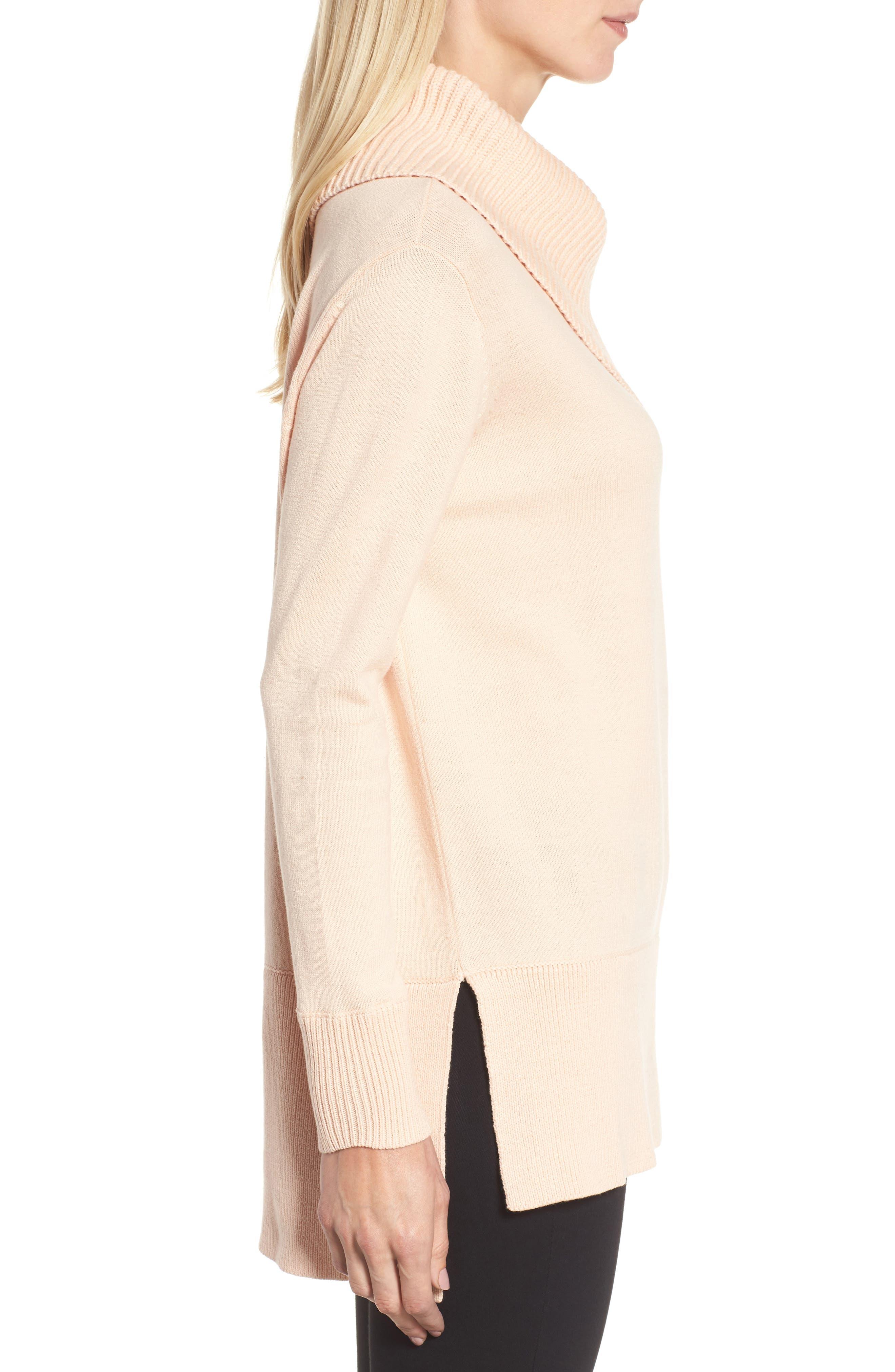 Cowl Neck Sweater,                             Alternate thumbnail 3, color,                             Blush