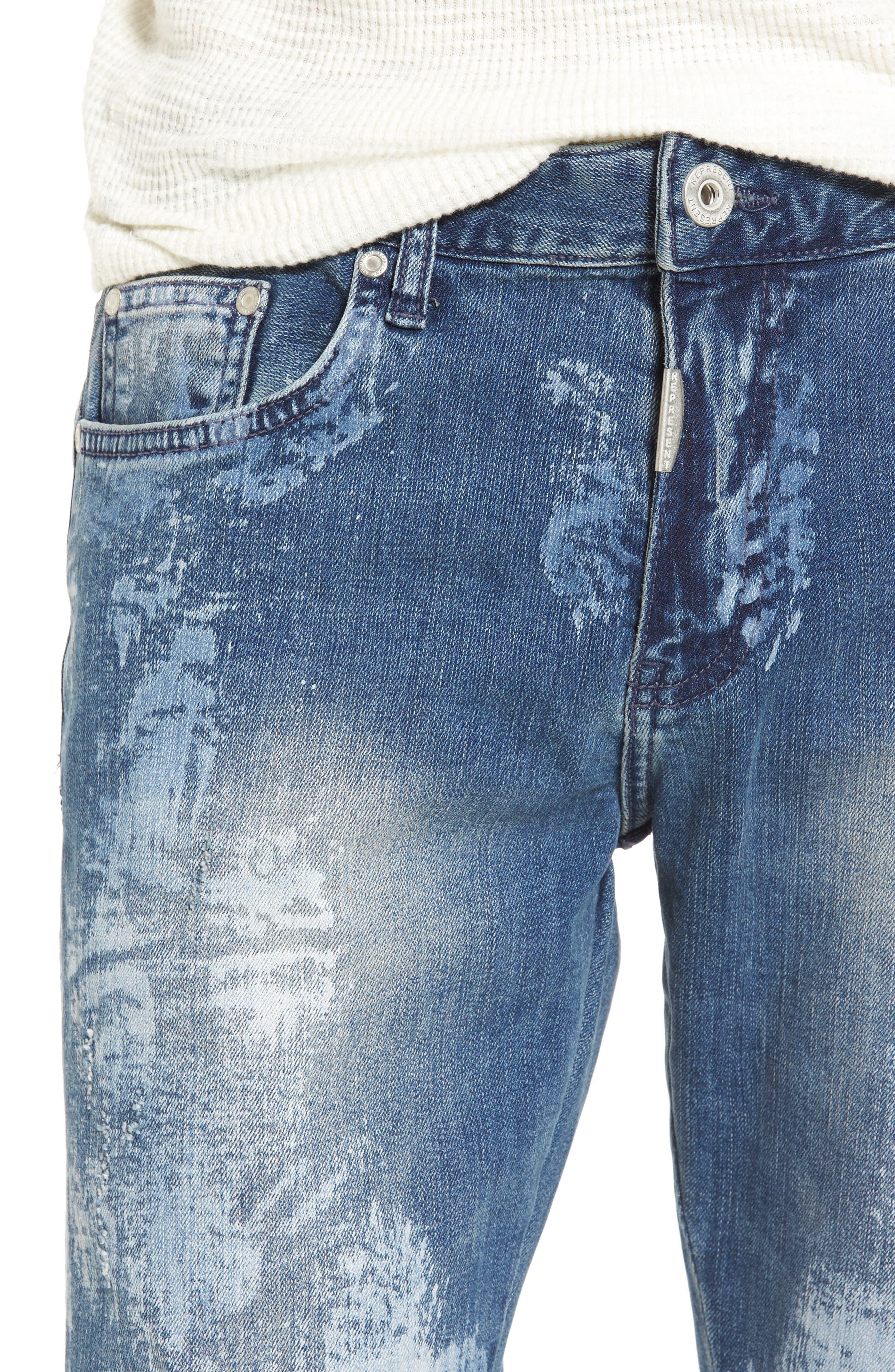 Slim Fit Destroyed Jeans,                             Alternate thumbnail 4, color,                             Heavy Bleach