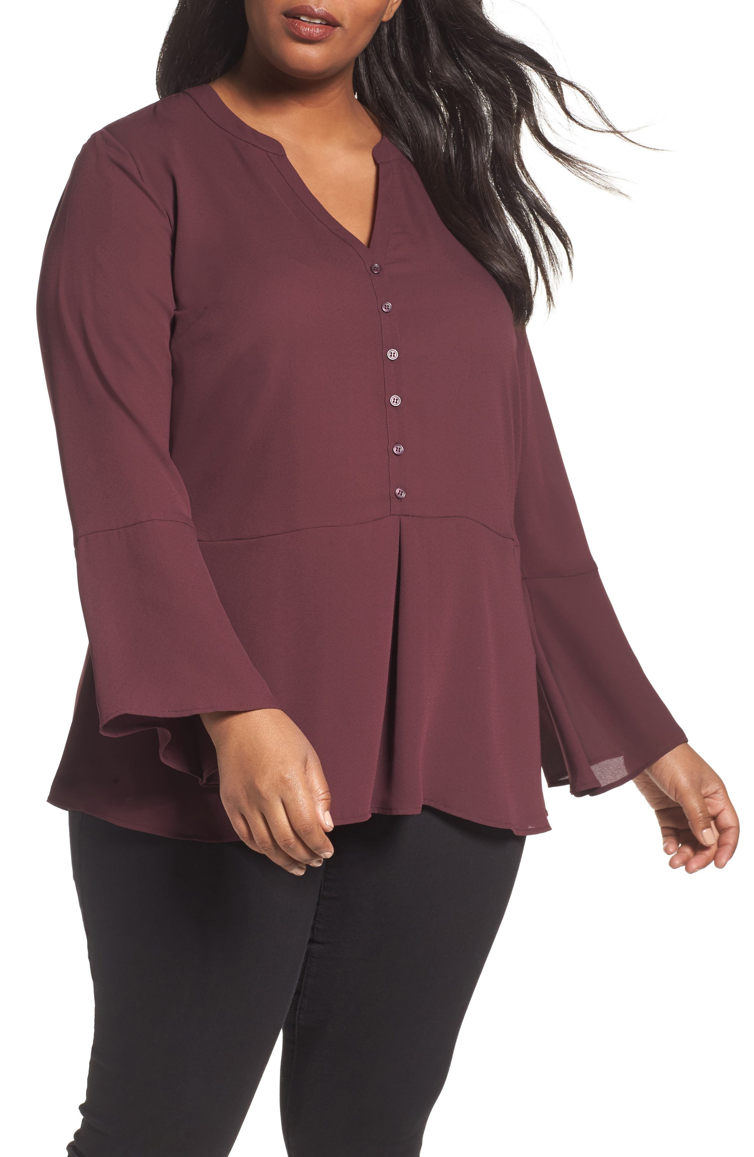 Sejour Bell Sleeve Peplum Blouse (Plus Size)