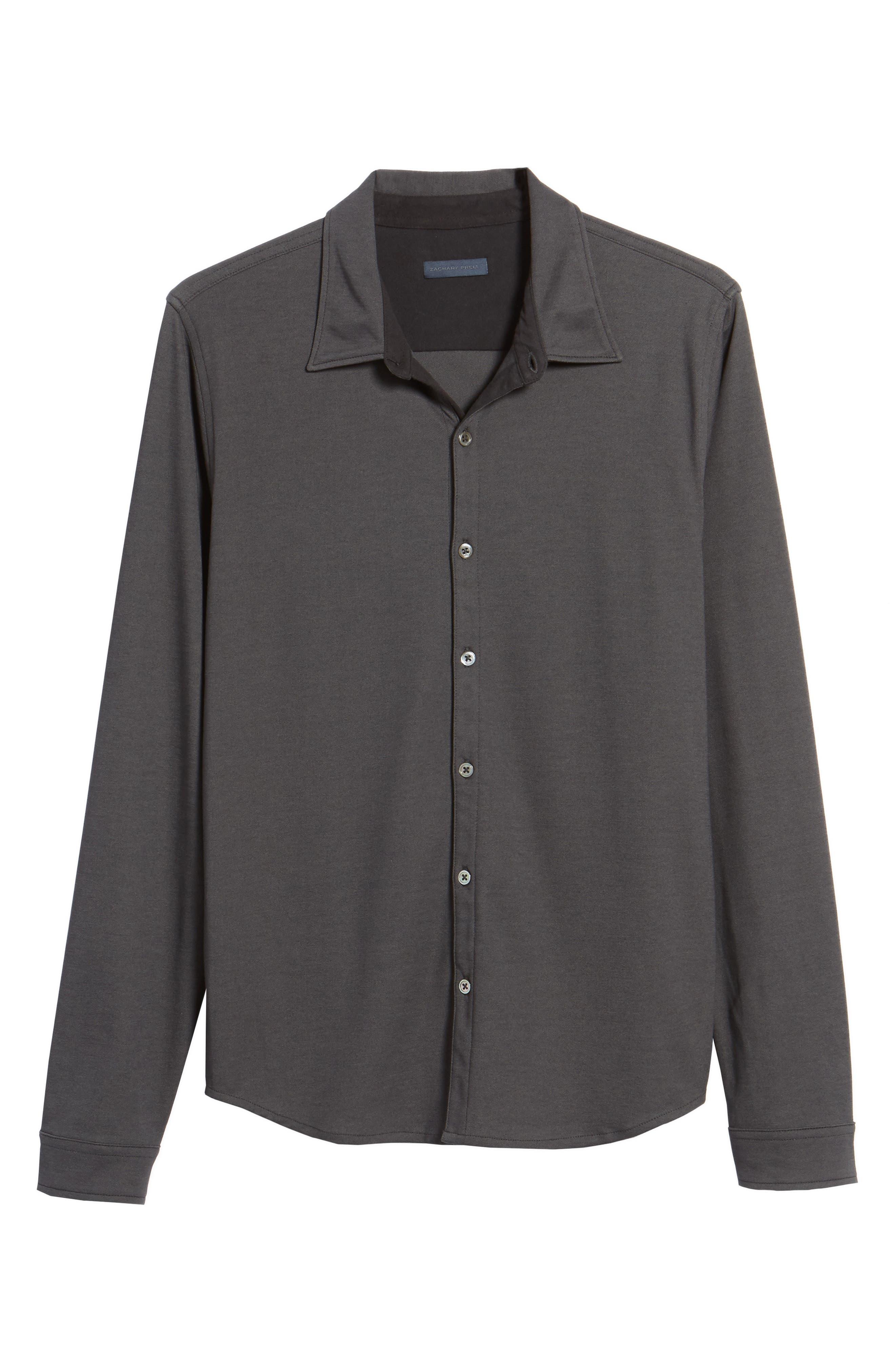 Glacier Knit Sport Shirt,                             Alternate thumbnail 6, color,                             Black