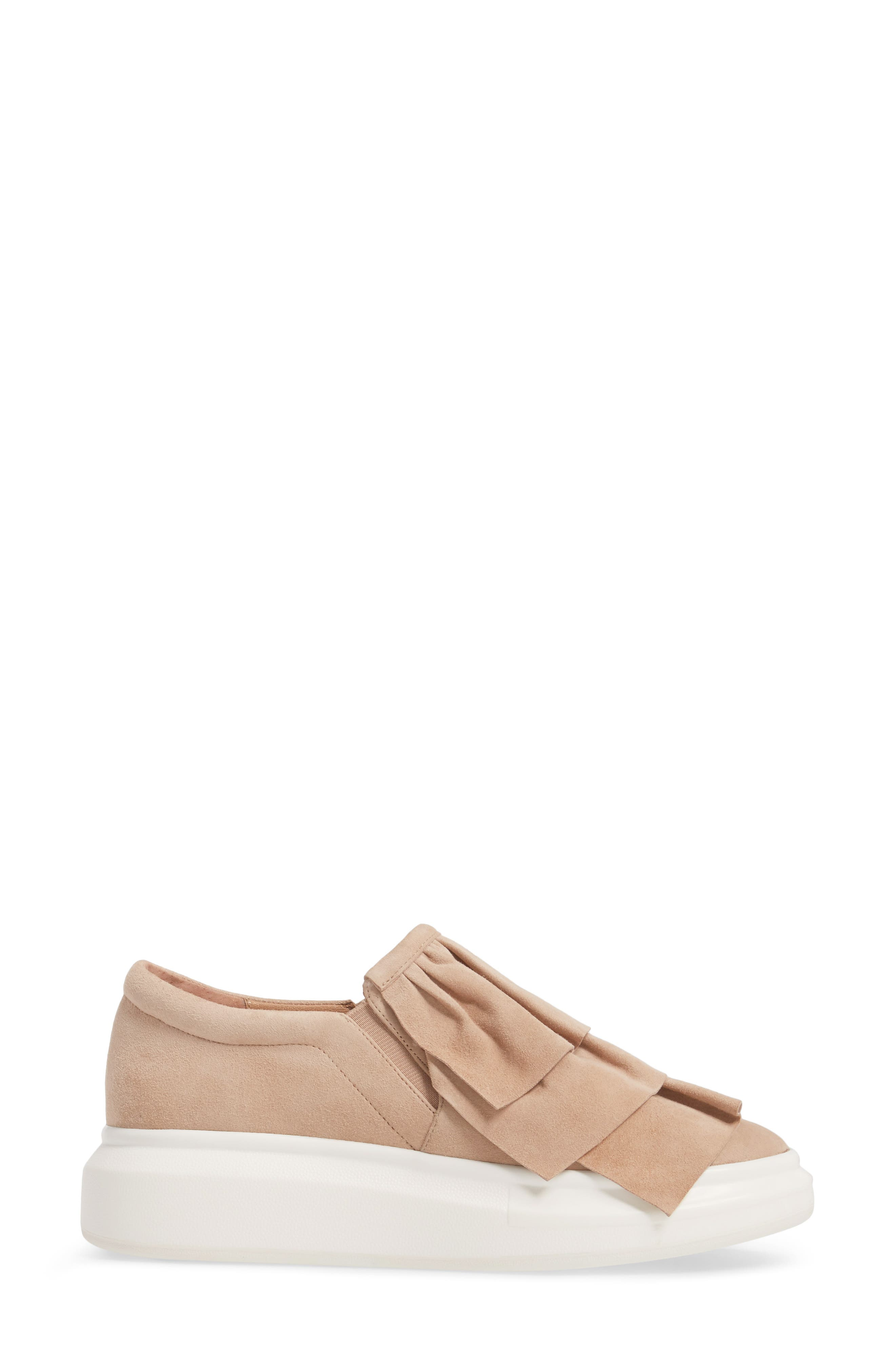 Lolo Ruffle Slip-On,                             Alternate thumbnail 3, color,                             Dusty Rose Suede
