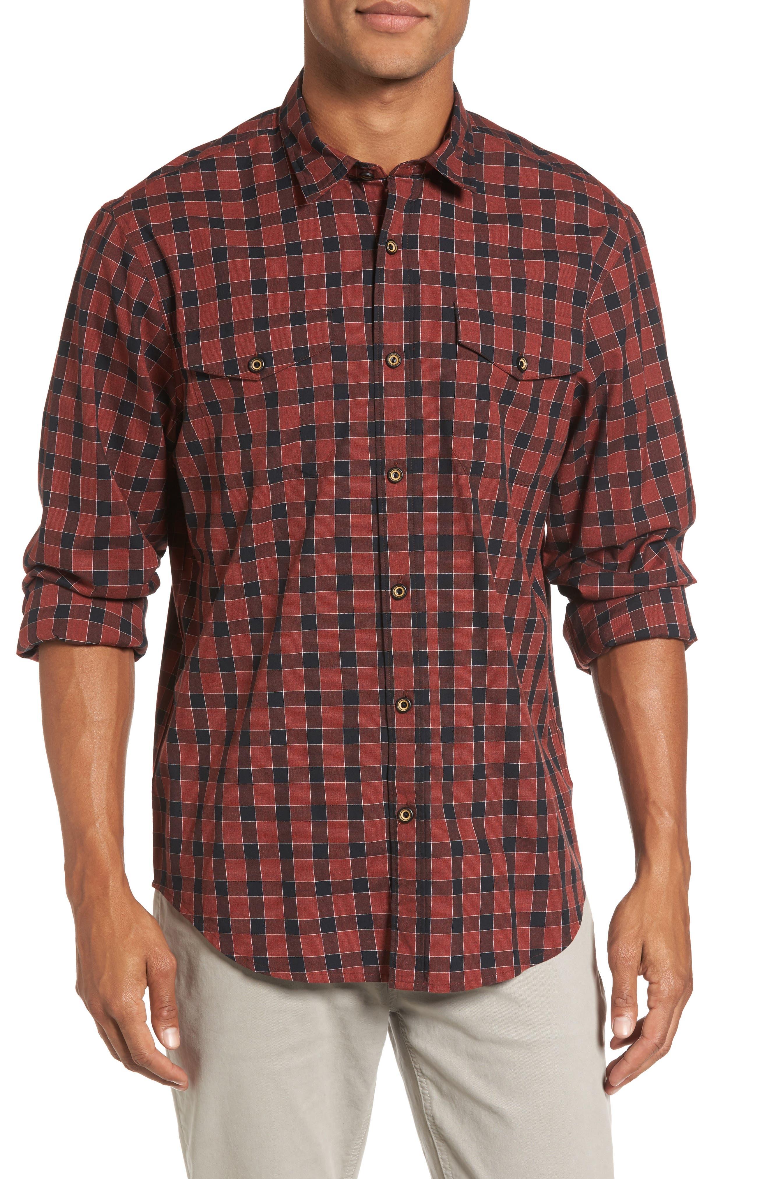 Lake Plaid Flannel Shirt,                             Main thumbnail 1, color,                             Red