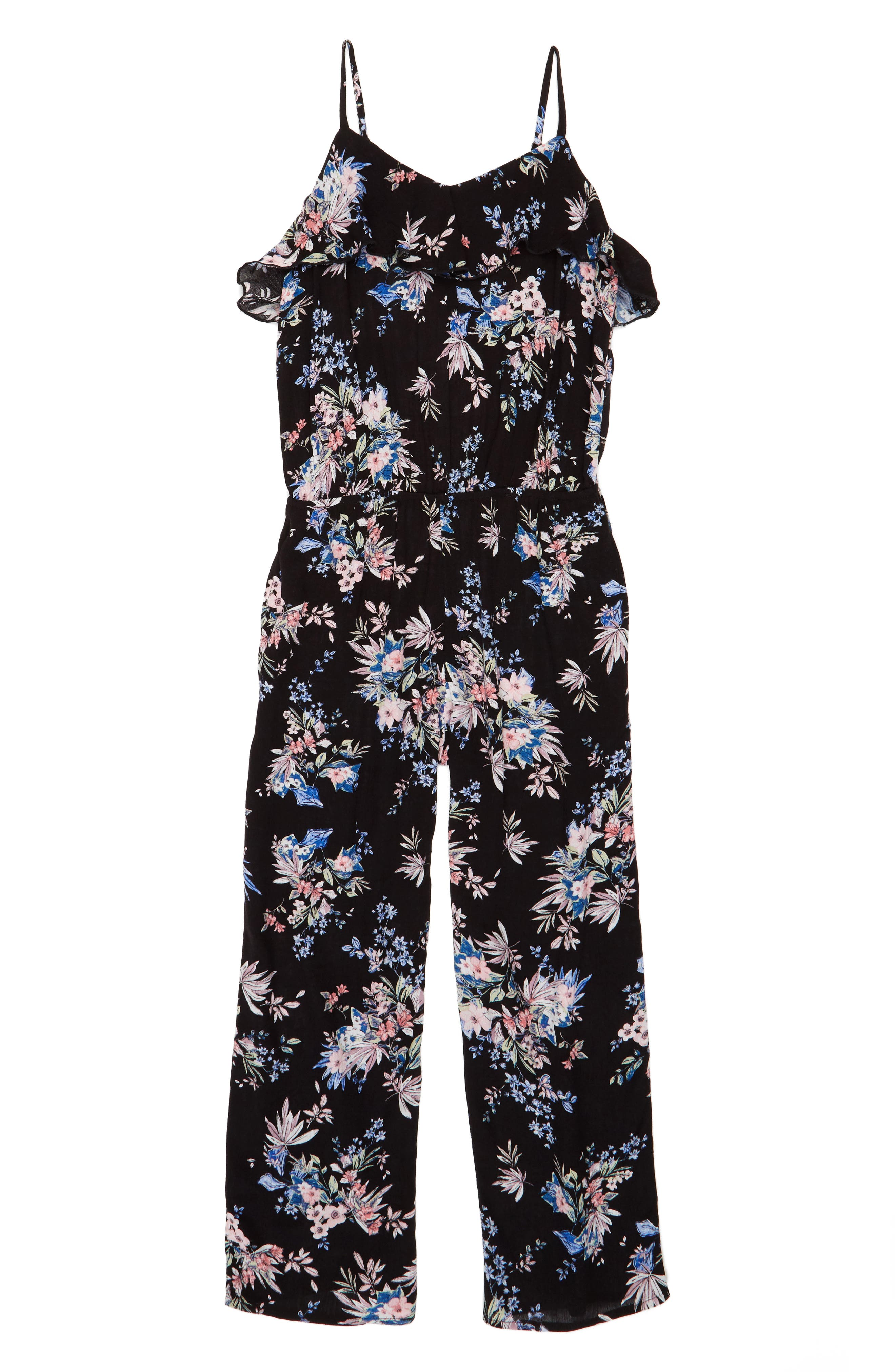 Alternate Image 1 Selected - Mia Chica Floral Print Jumpsuit (Big Girls)