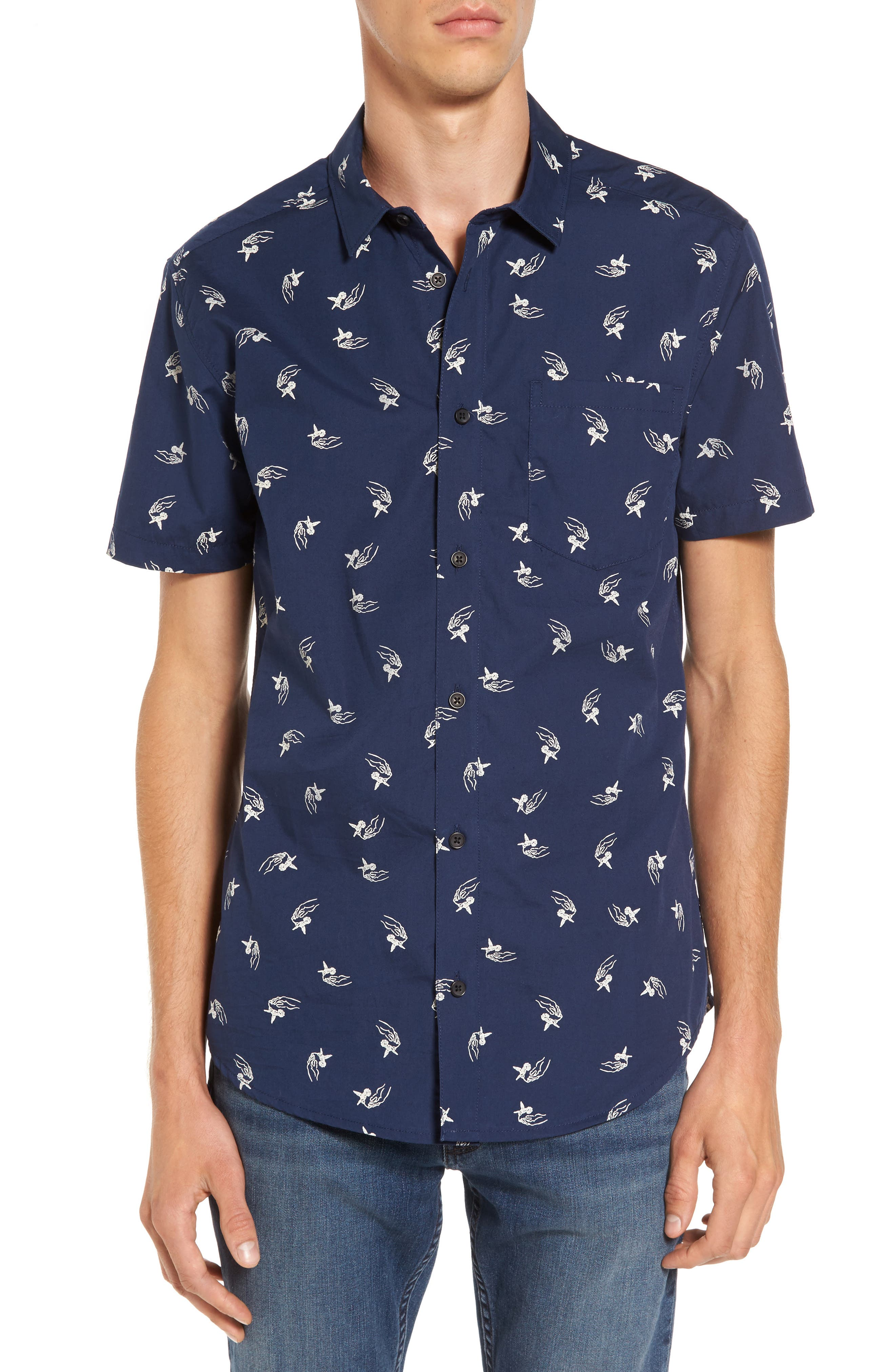 Main Image - RVCA x Kevin Long Hummingbird Woven Shirt
