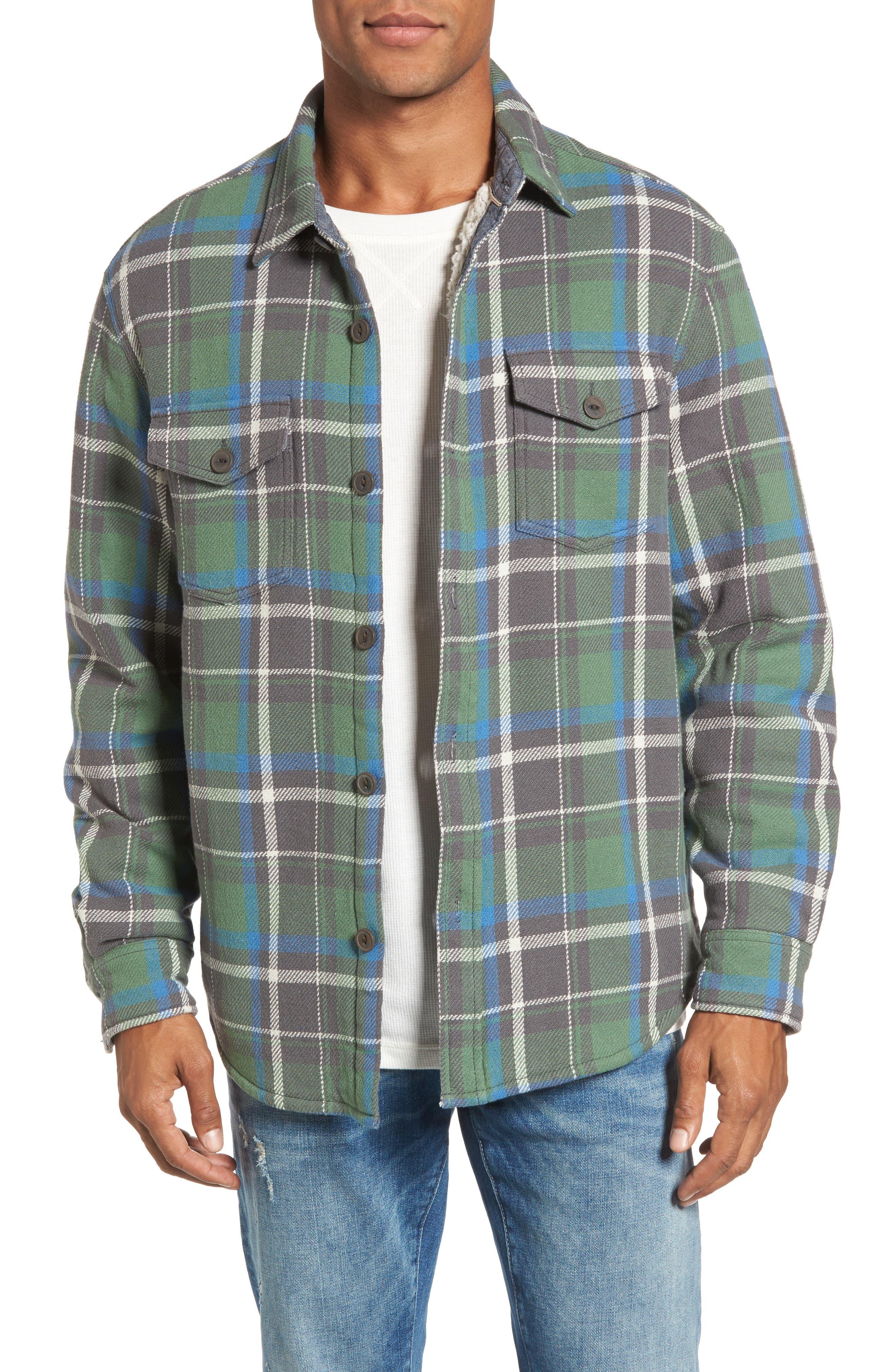 Summit Hunter Plaid Faux Shearling Lined Shirt Jacket,                         Main,                         color, Charcoal/ Green