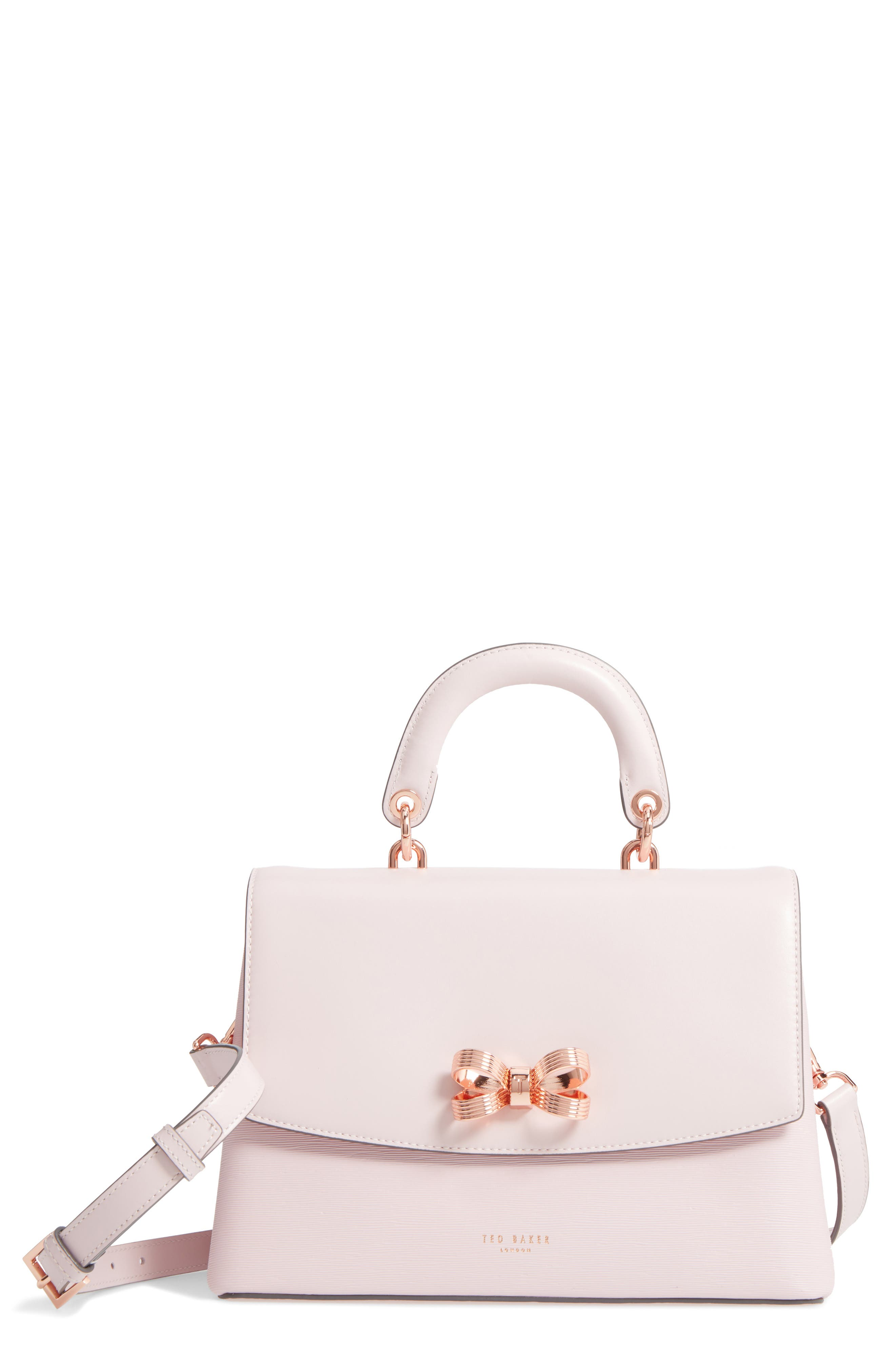 Lauree Looped Bow Leather Satchel,                             Main thumbnail 1, color,                             Dusky Pink