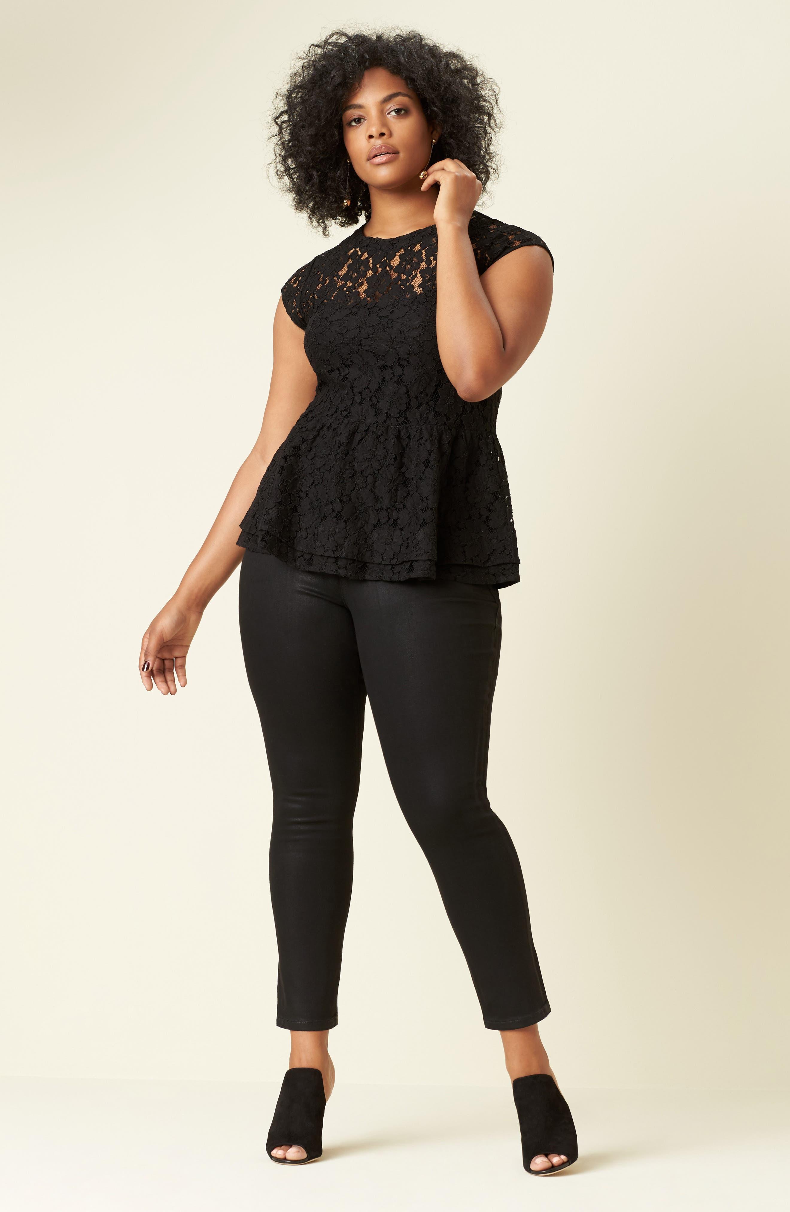 Alternate Image 2  - SLINK Jeans Stretch Corduroy Cropped Skinny Pants (Plus Size)