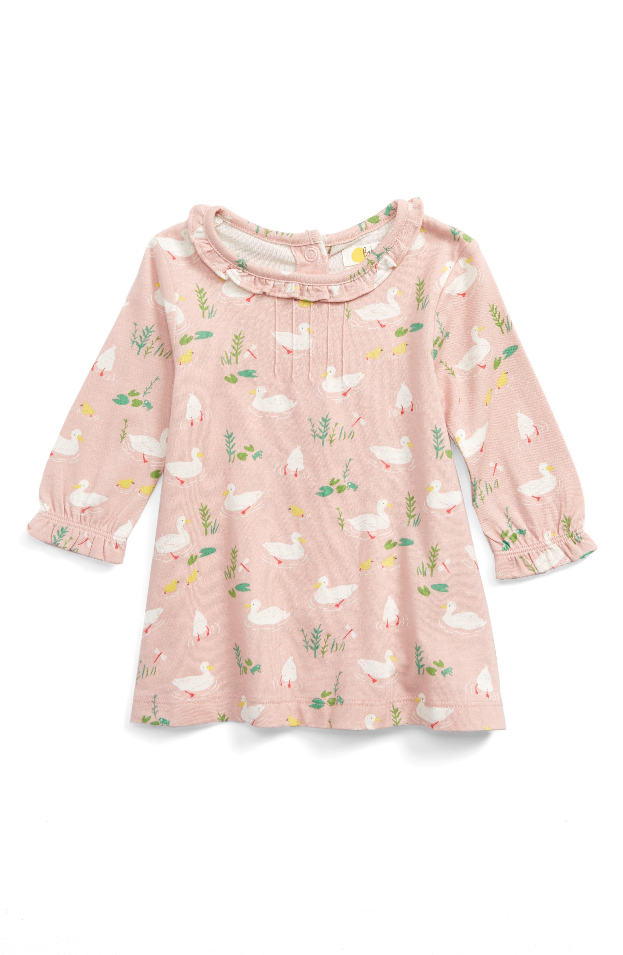 Alternate Image 1 Selected - Mini Boden Pretty Print Jersey Dress (Baby Girls & Toddler Girls)