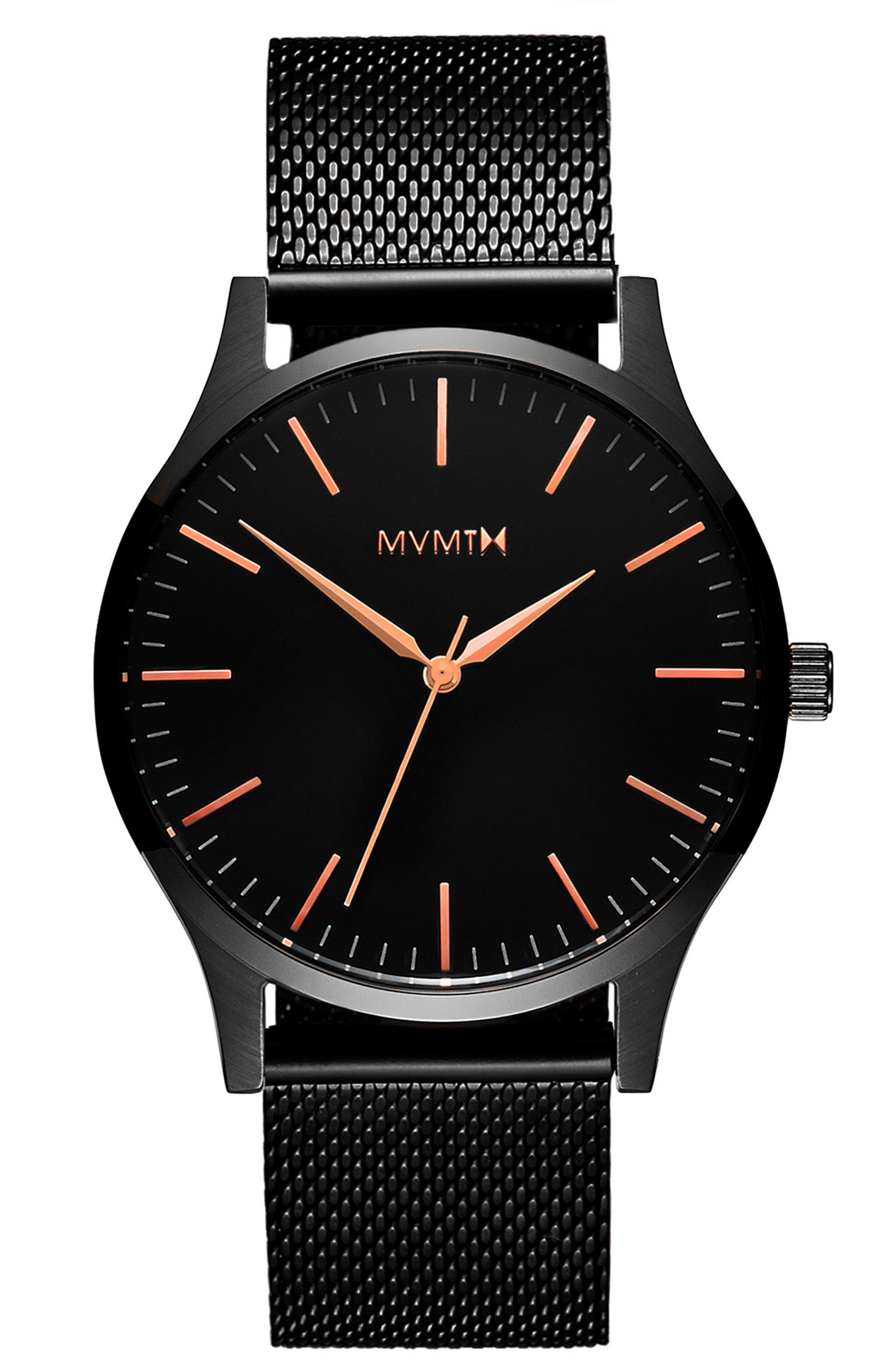 The 40 Mesh Strap Watch, 40mm,                         Main,                         color, All Black/ Rose Gold