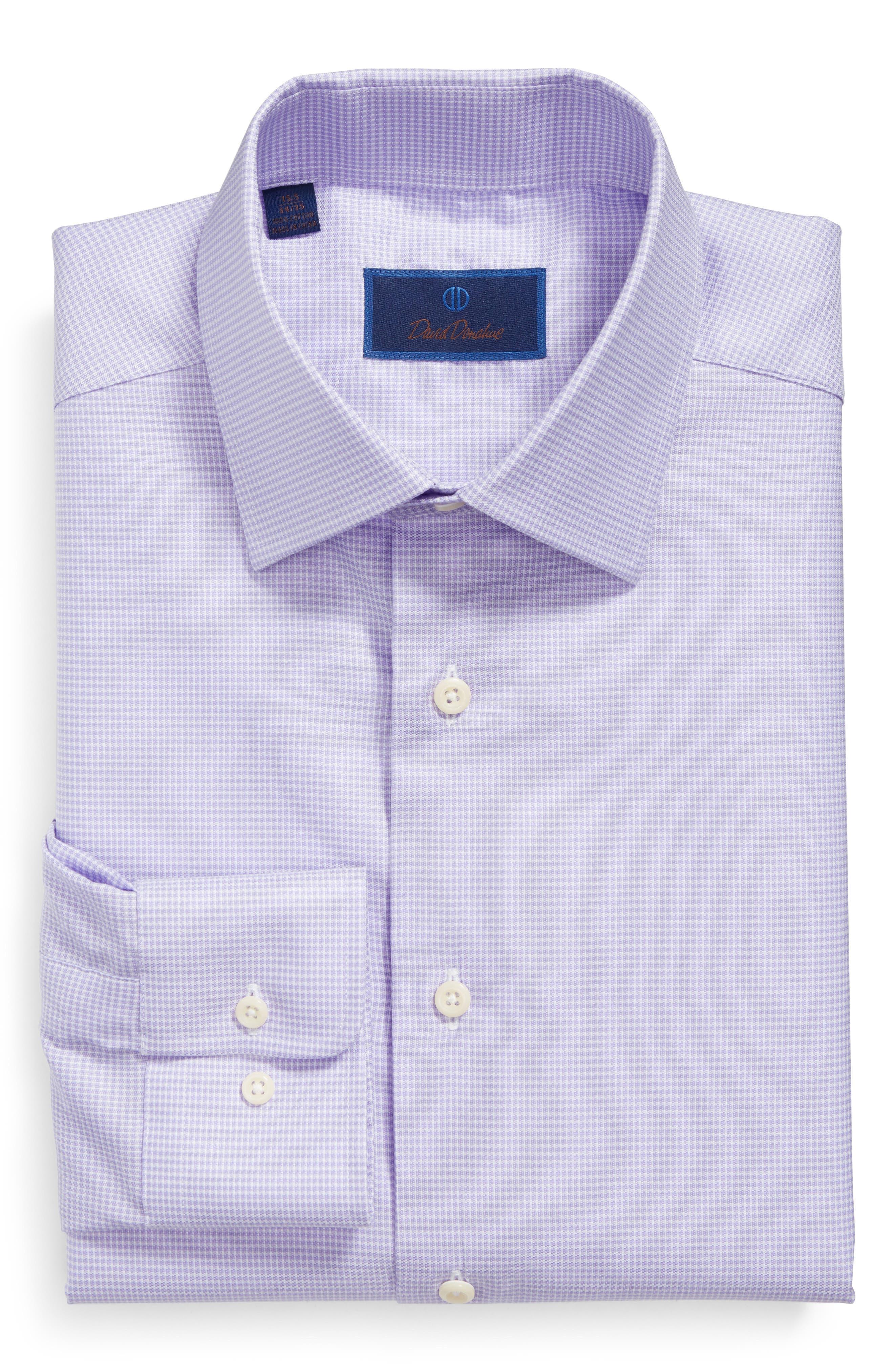 David Donahue Regular Fit Houndstooth Dress Shirt