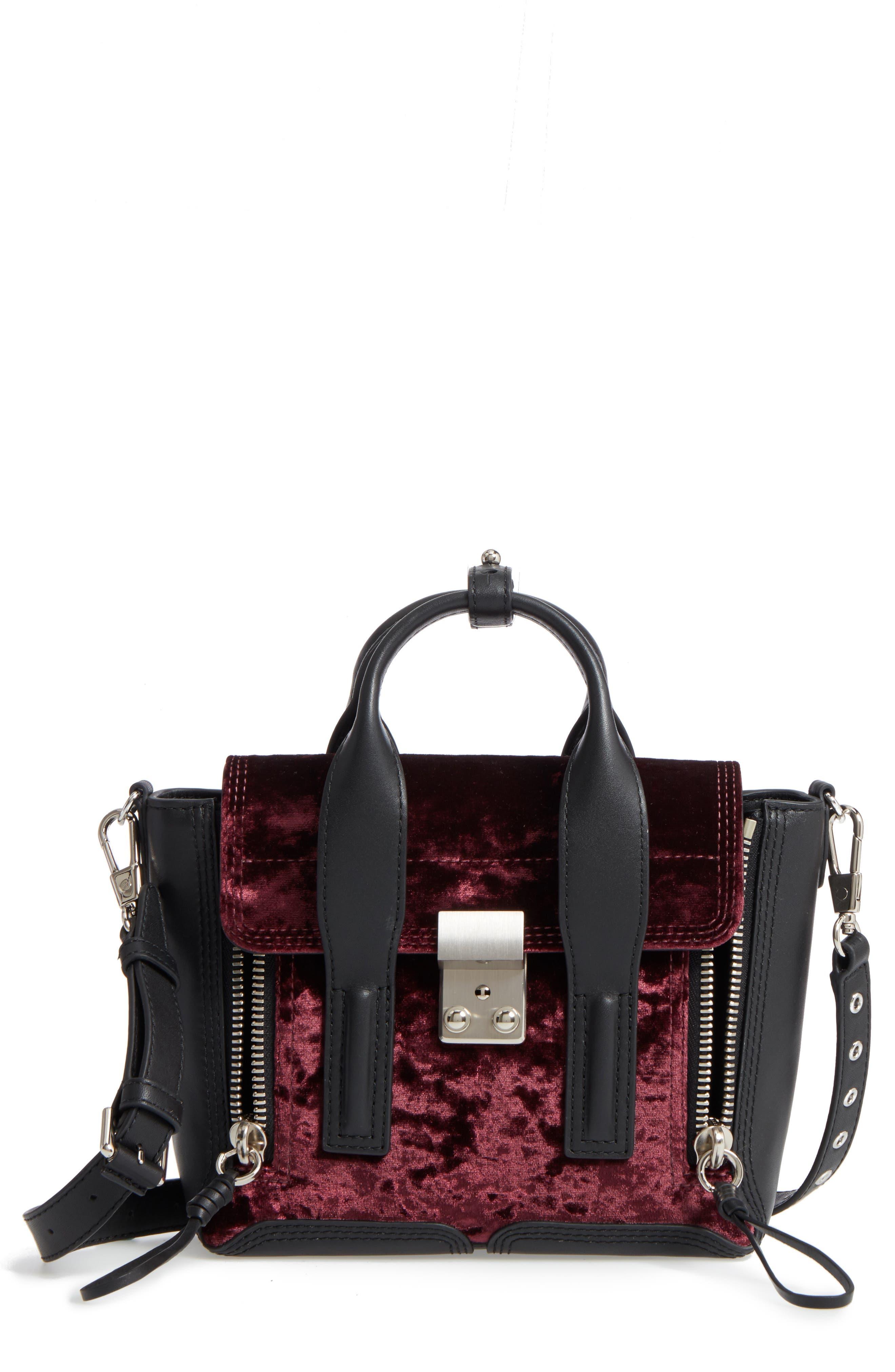 3.1 Phillip Lim Mini Pashli Velvet & Leather Satchel