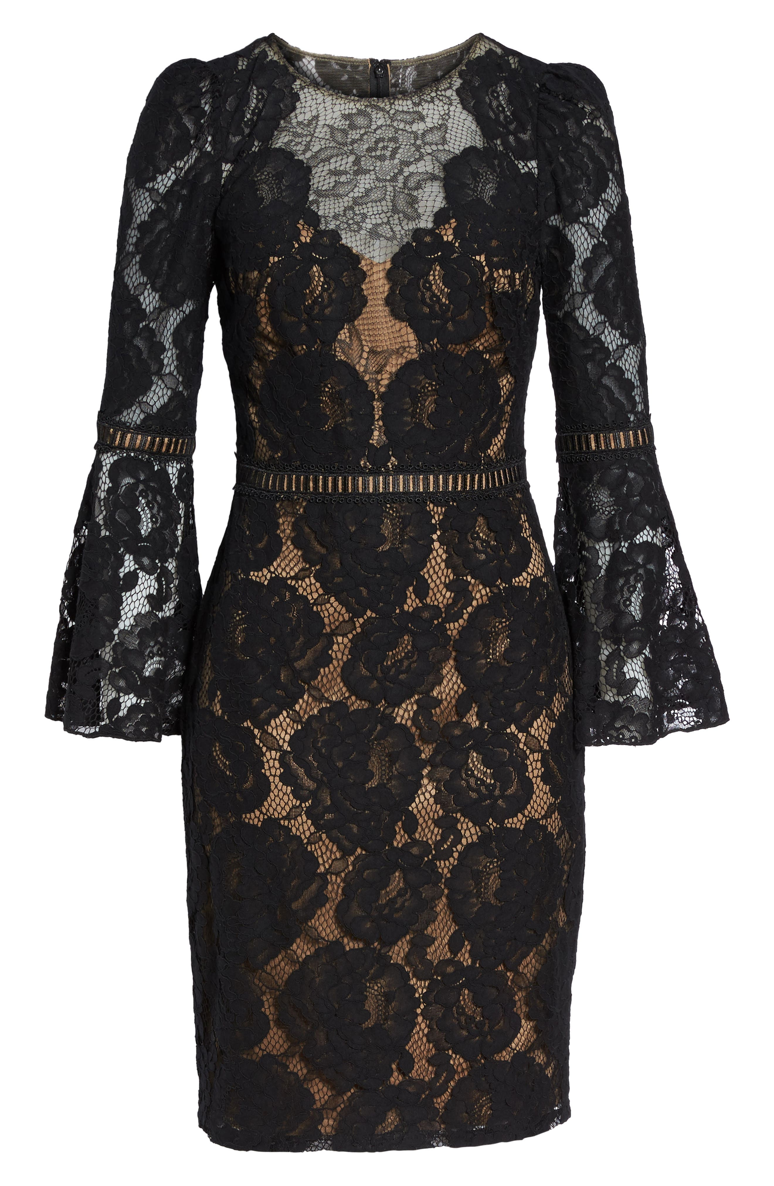 Lace Bell Sleeve Dress,                             Alternate thumbnail 6, color,                             Black/ Nude