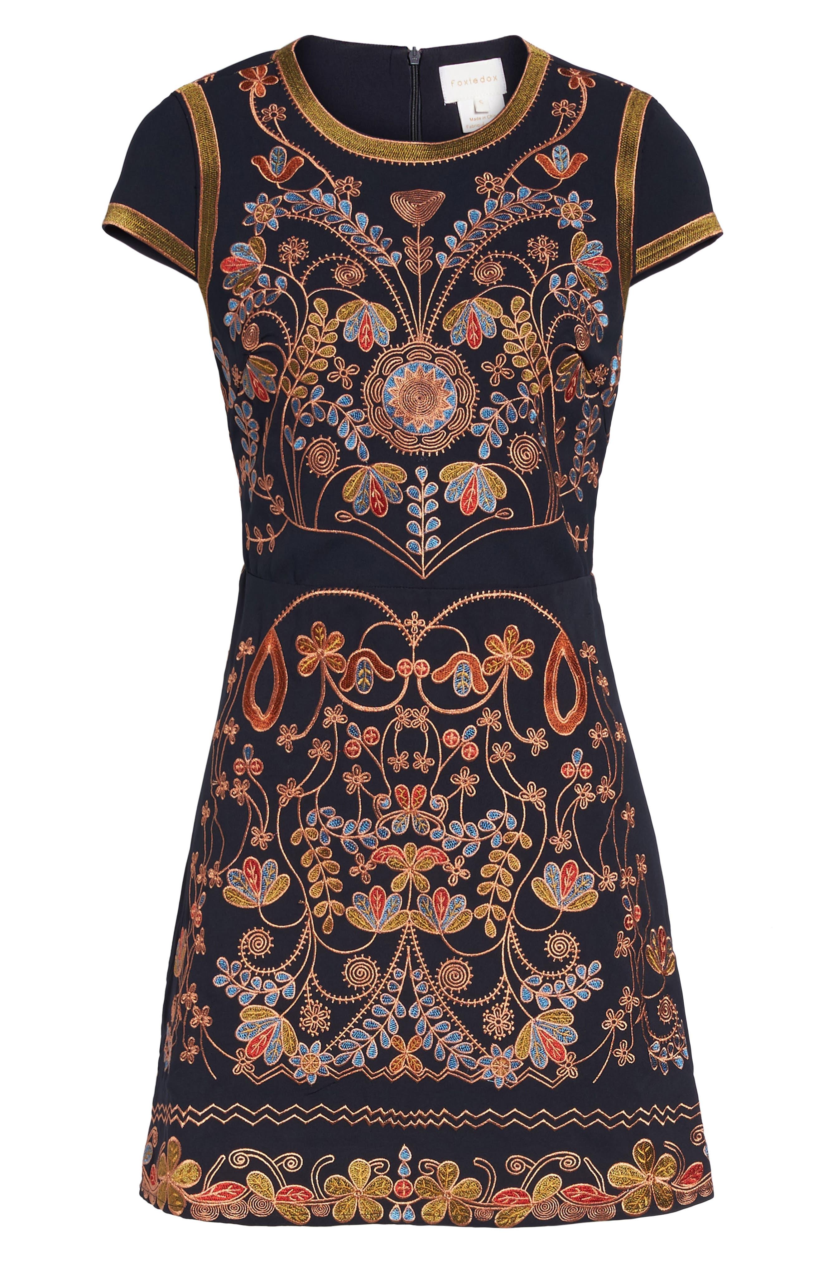 Alternate Image 6  - Foxiedox Hadiya Embroidered A-Line Dress
