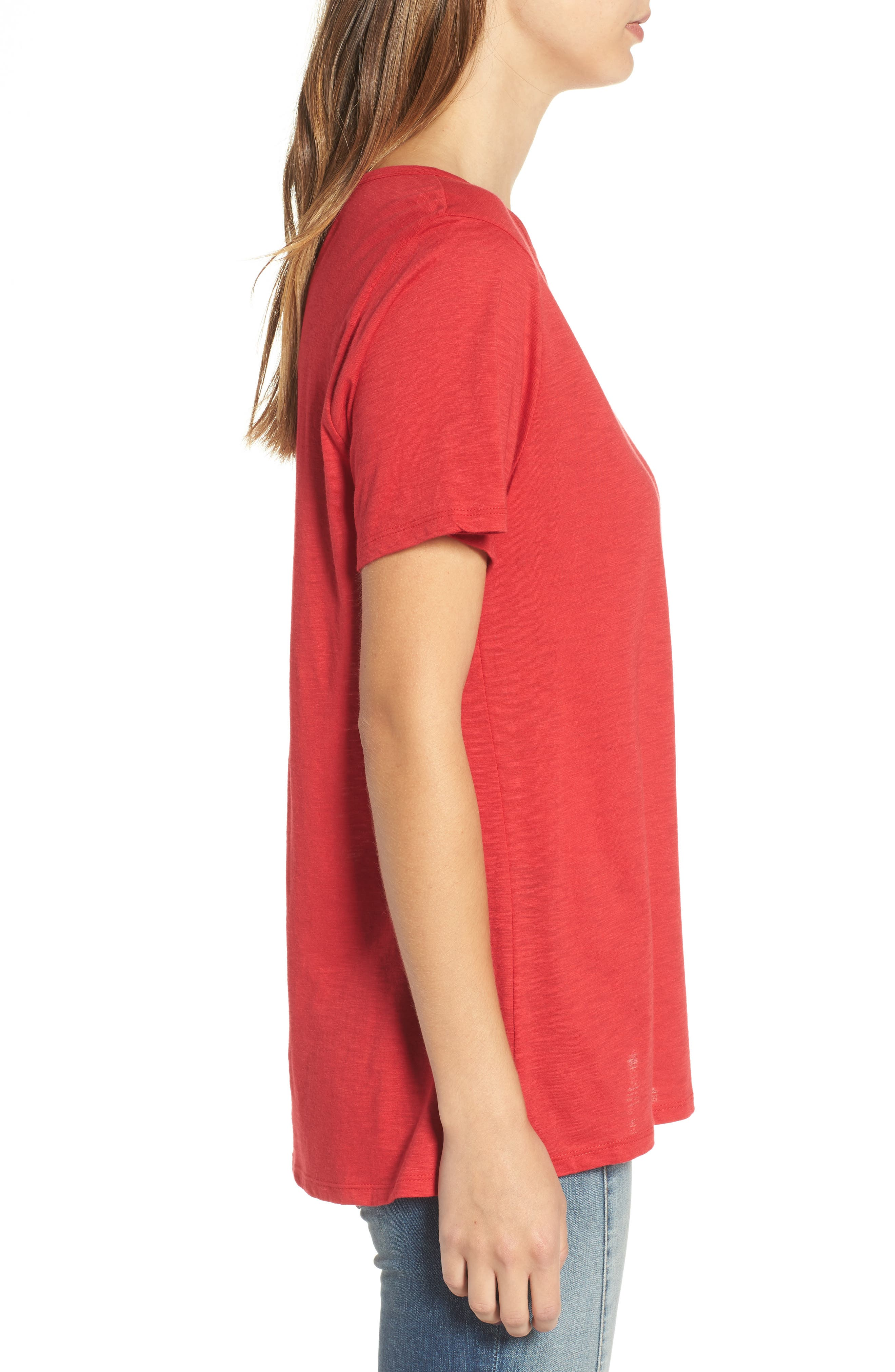 Grommet Lace-Up Tee,                             Alternate thumbnail 3, color,                             American Red