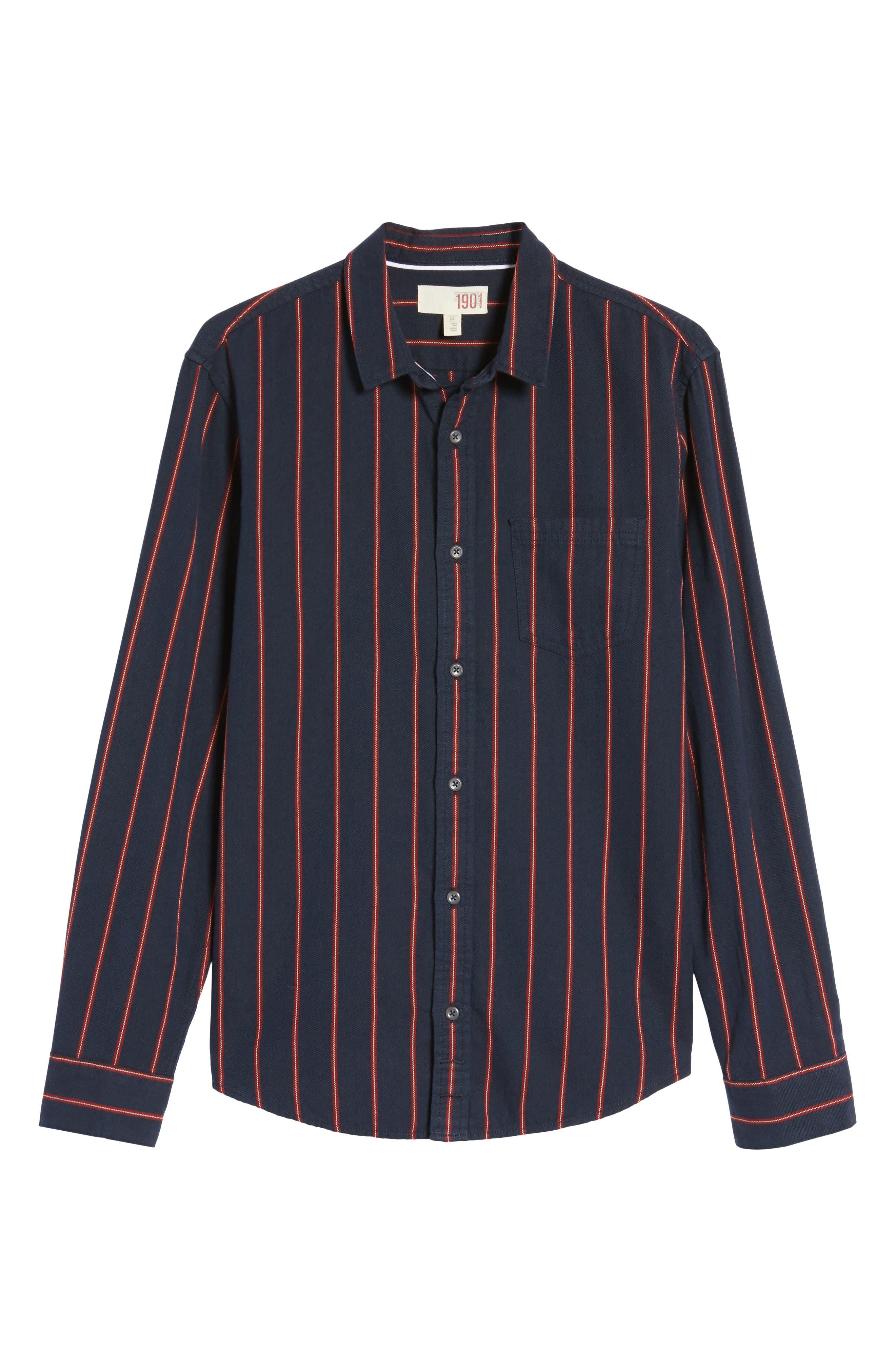 The Rail Long Sleeve Twill Shirt,                             Alternate thumbnail 6, color,                             Navy Peacoat Red Stripe