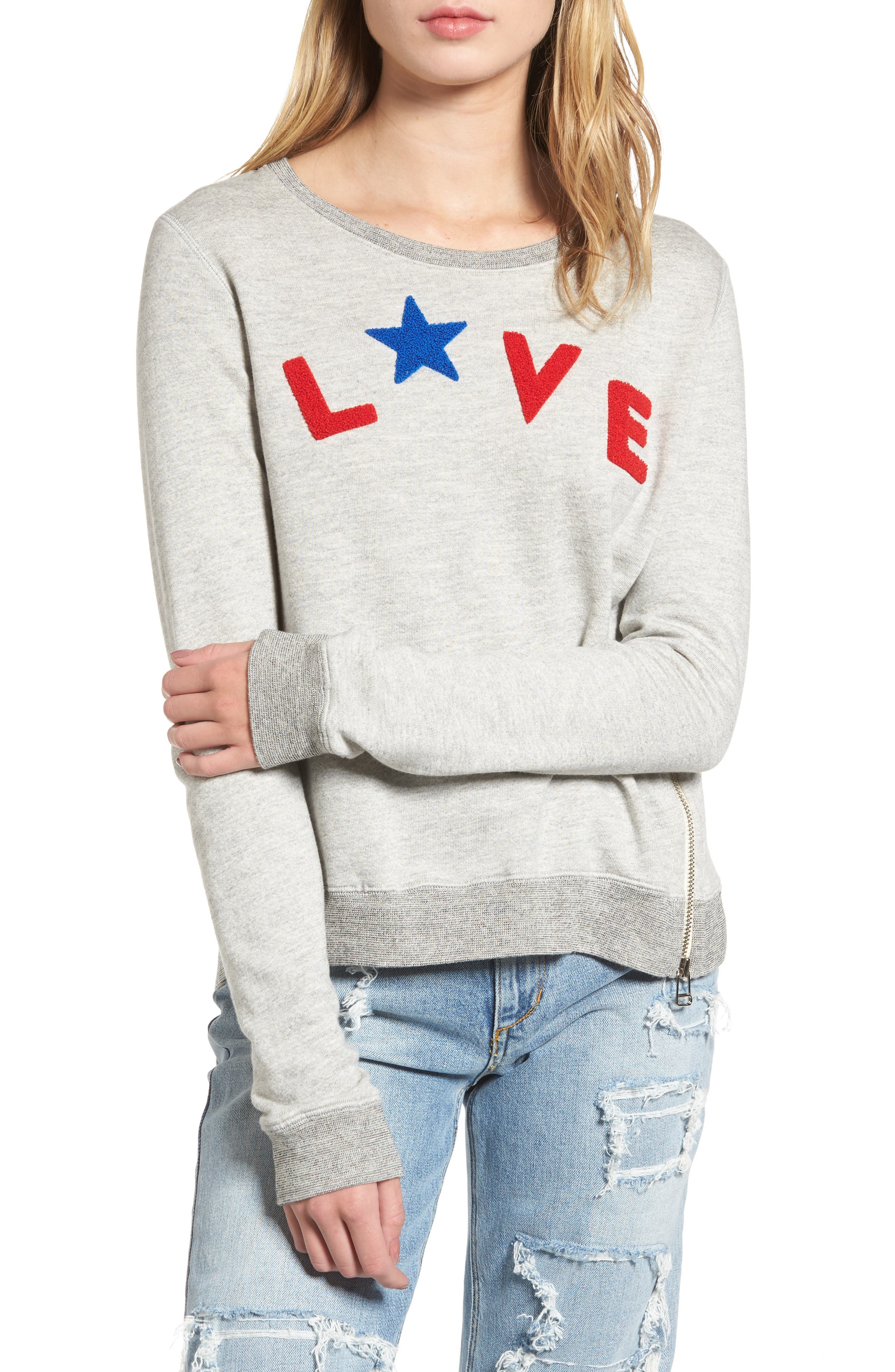 Love Sweatshirt,                             Main thumbnail 1, color,                             Heather Grey