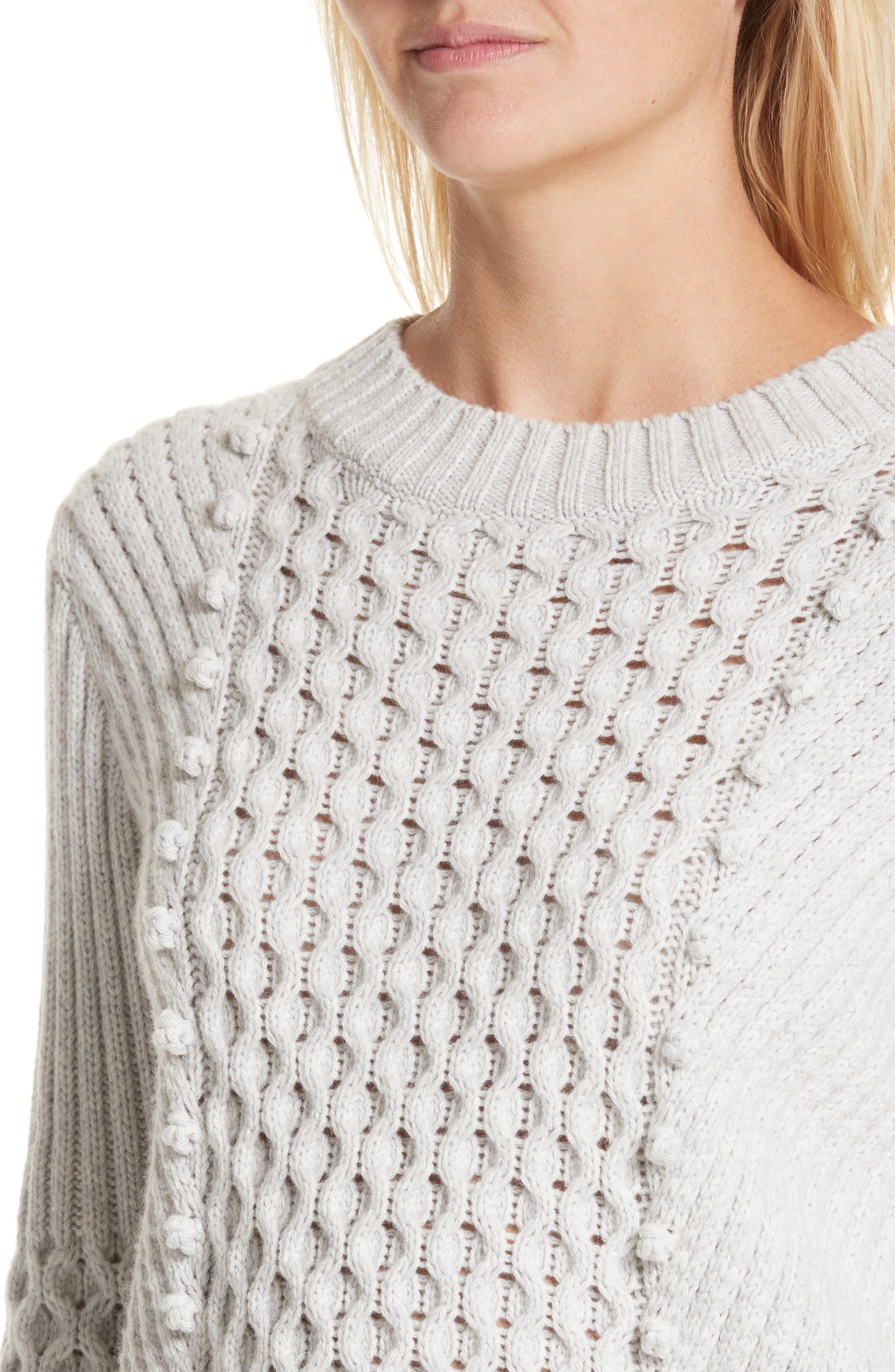 Honeycomb Stitch Sweater,                             Alternate thumbnail 4, color,                             Light Grey Heather