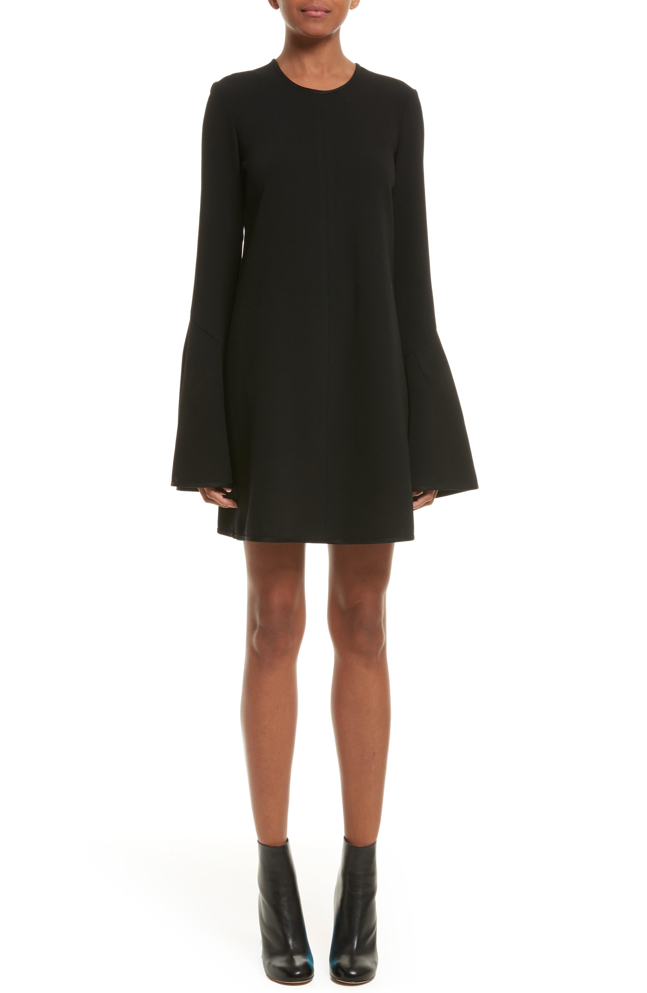 Preacher Satin Crepe Dress,                         Main,                         color, Black